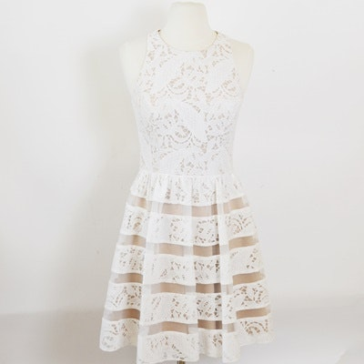 Aidan White Lace Sleeveless Dress