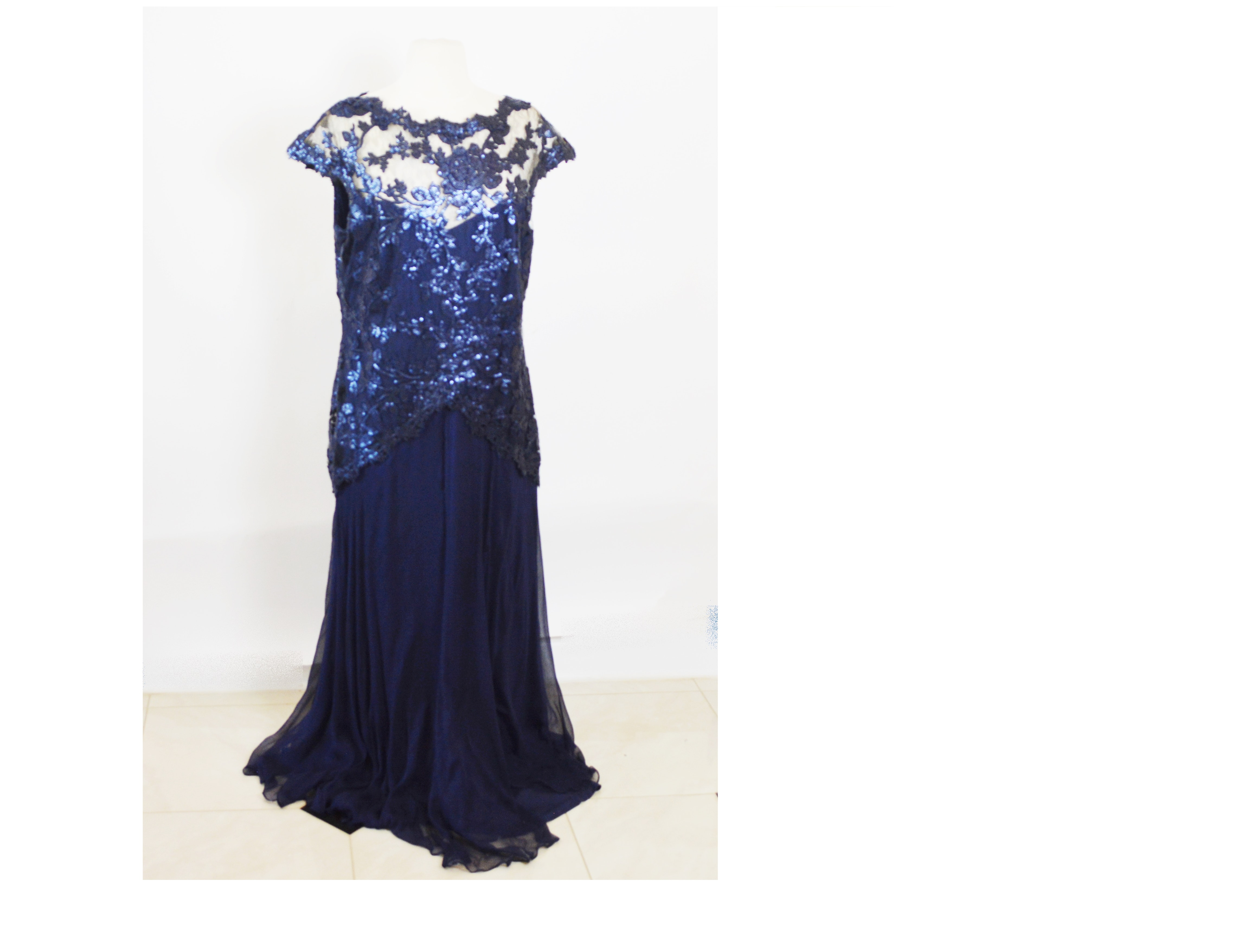 Tadashi Shoji Sequined Blue Chiffon Formal Evening Dress