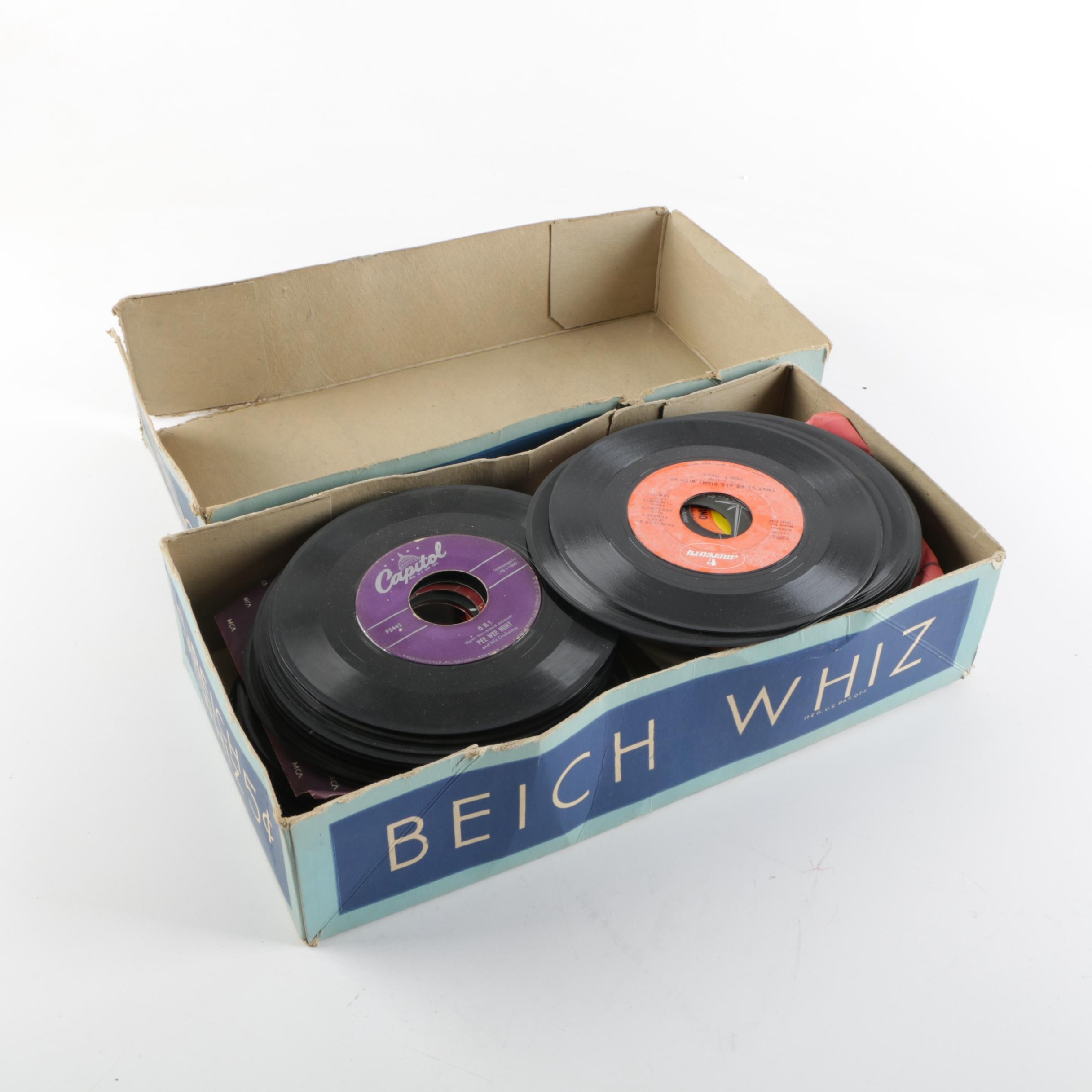 Vintage 45 RPM Single Records Including Sammy Davis Jr. and Ike and Tina Turner