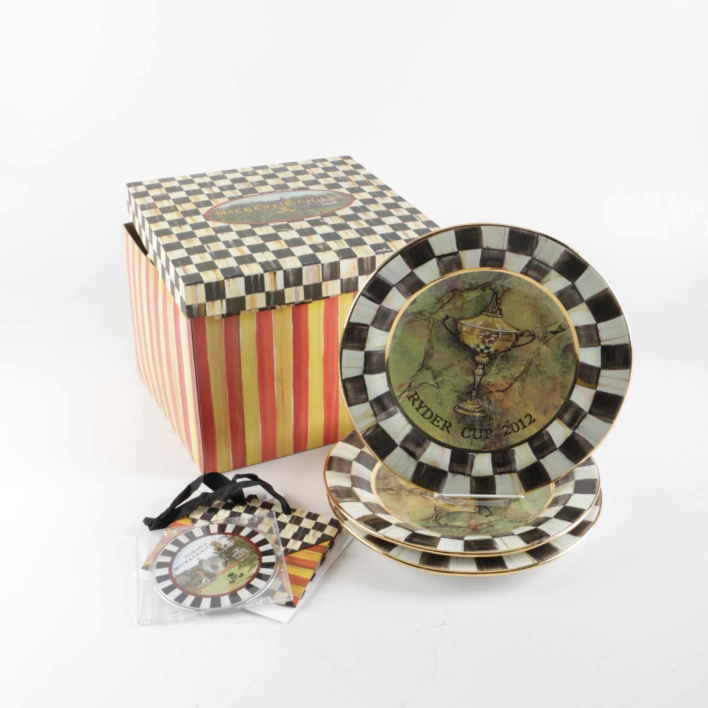 """Decorative MacKenzie-Childs """"Ryder Cup 2012"""" Earthenware Plates"""