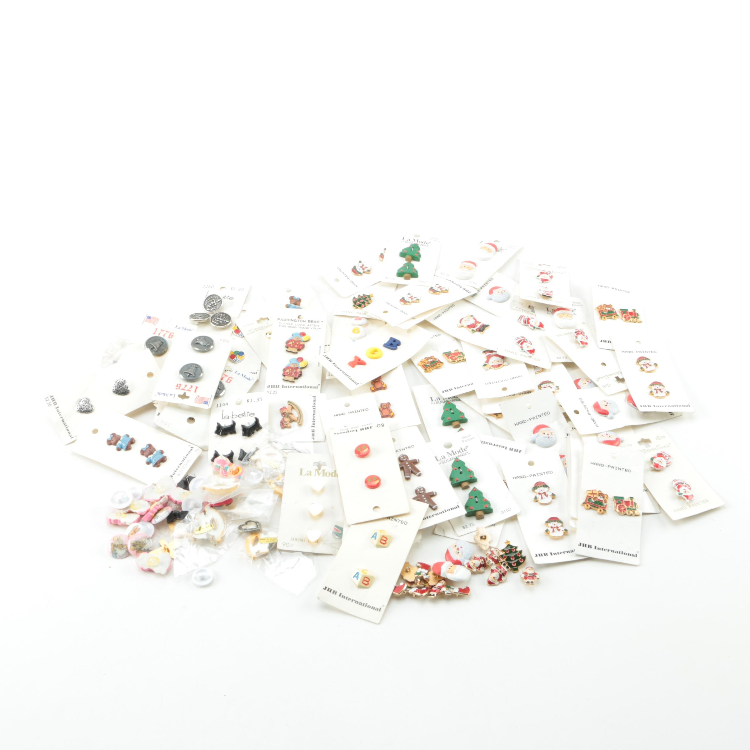 Assorted JHB International Hand-Painted Novelty and Christmas Buttons