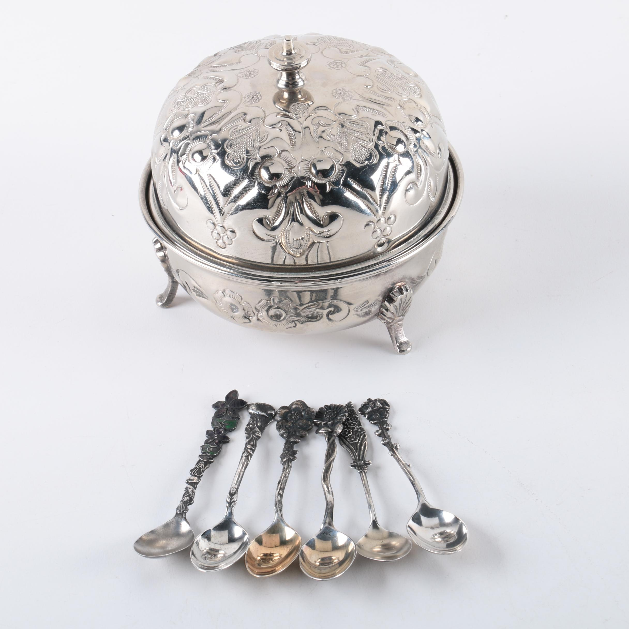 """Reed & Barton """"Harlequin"""" Sterling Spoons with Moroccan Silver Plate Lidded Bowl"""