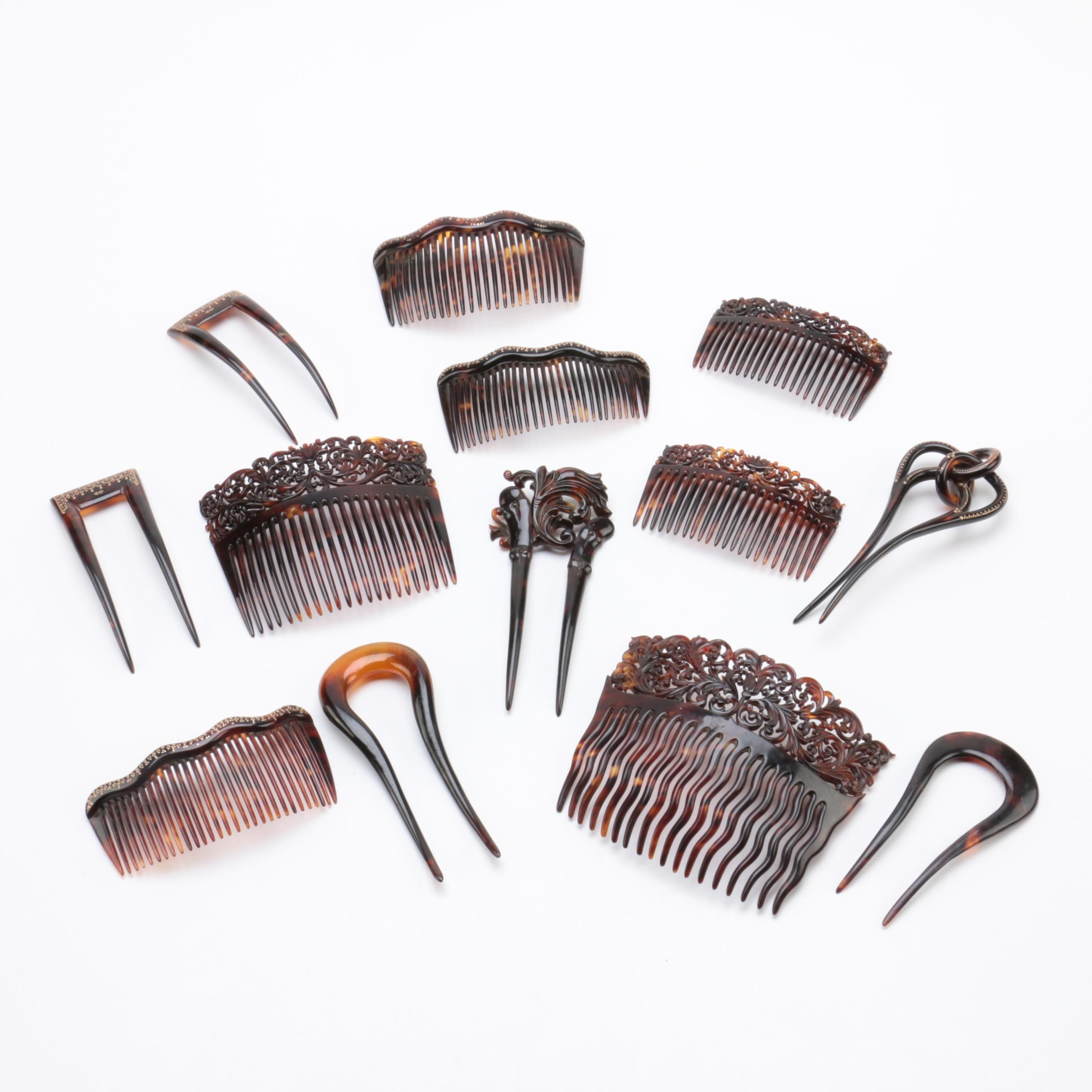 Collection of Vintage Faux Tortoise Shell Hair Combs