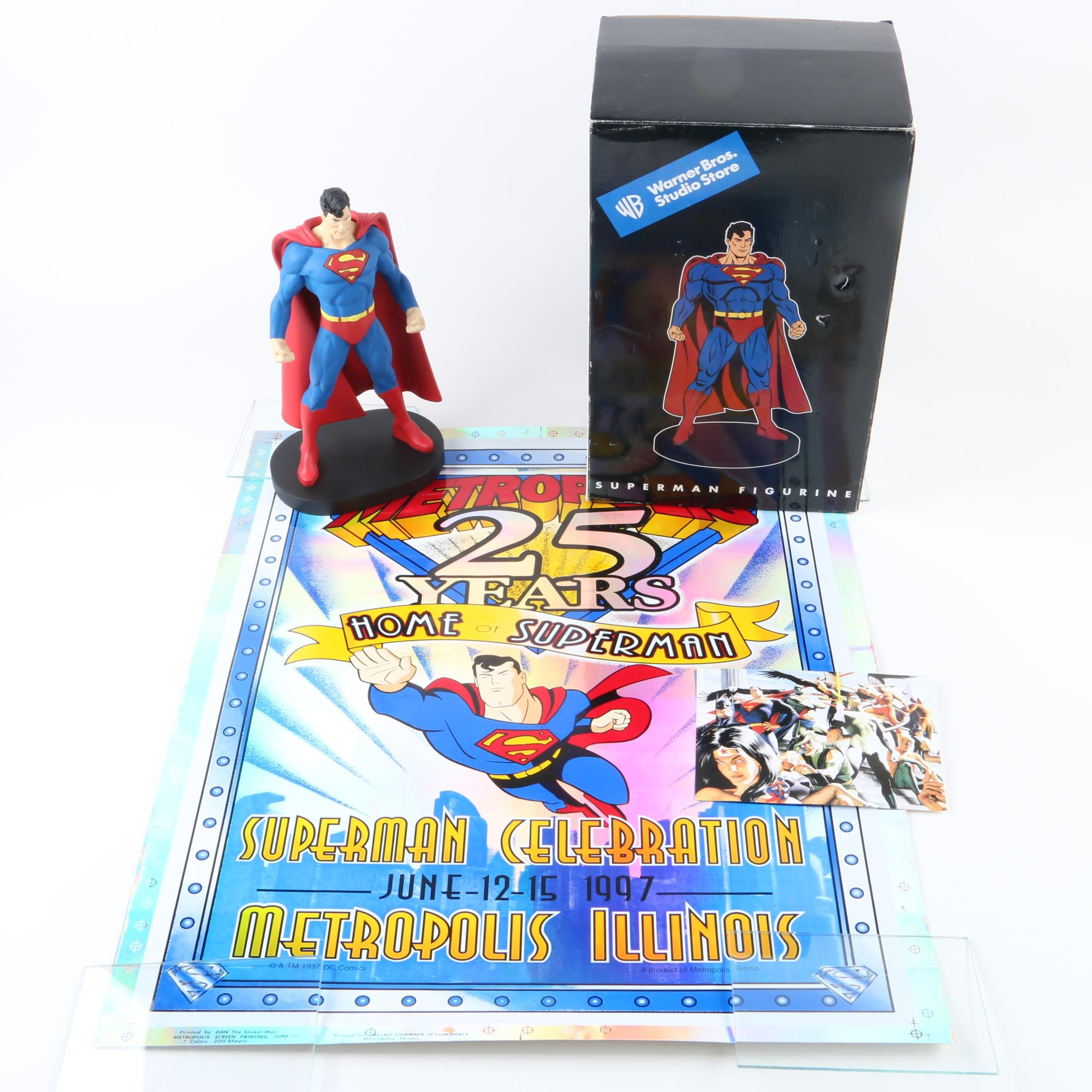Superman Figurine by Warner Brothers with Superman Poster and Artist Card