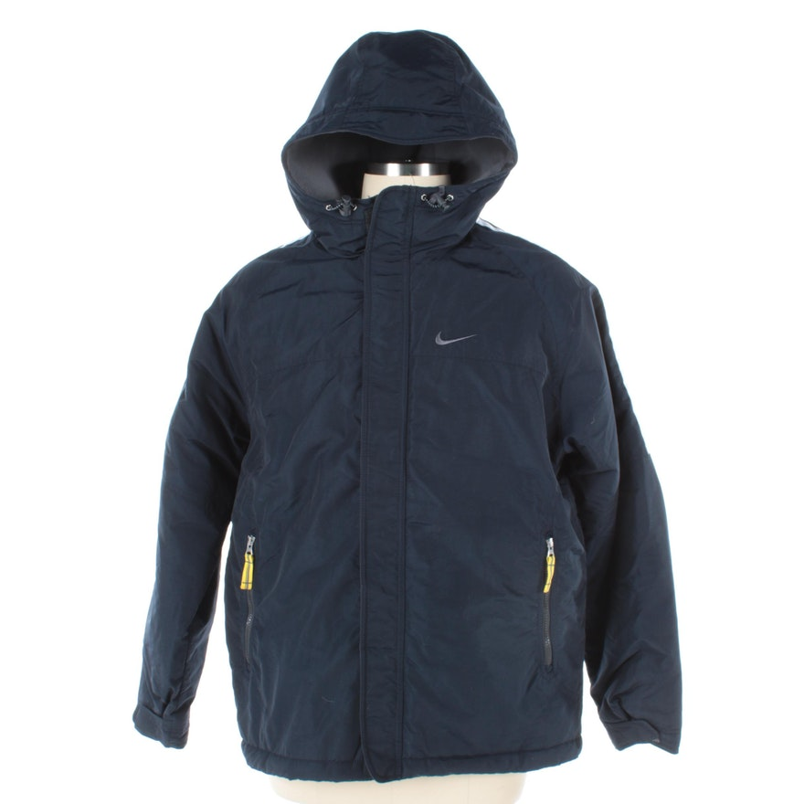 268b4bfec2e6 Men s Nike Navy Blue Winter Coat with Drawstring Hood   EBTH
