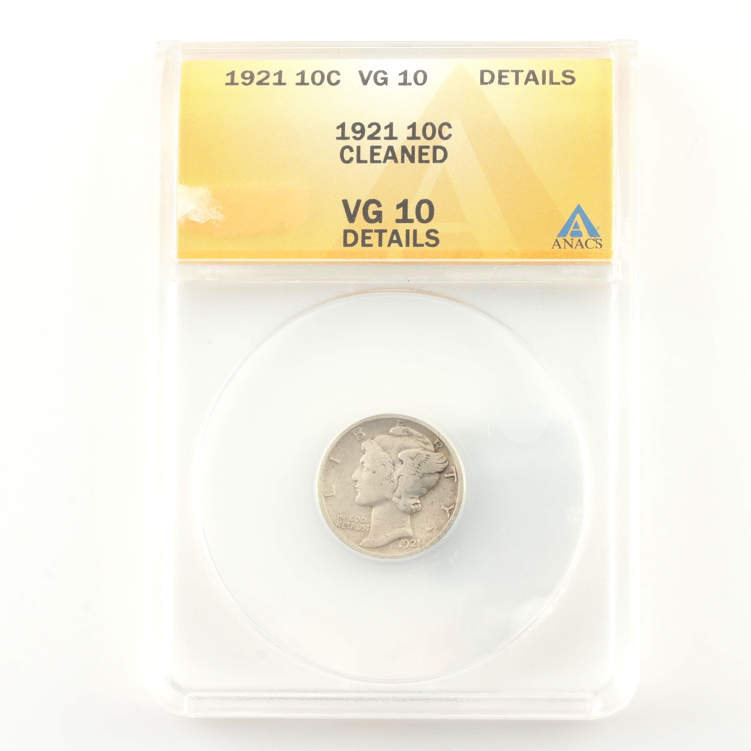 ANACS Graded VG-10 Key Date 1921 Silver Mercury Dime