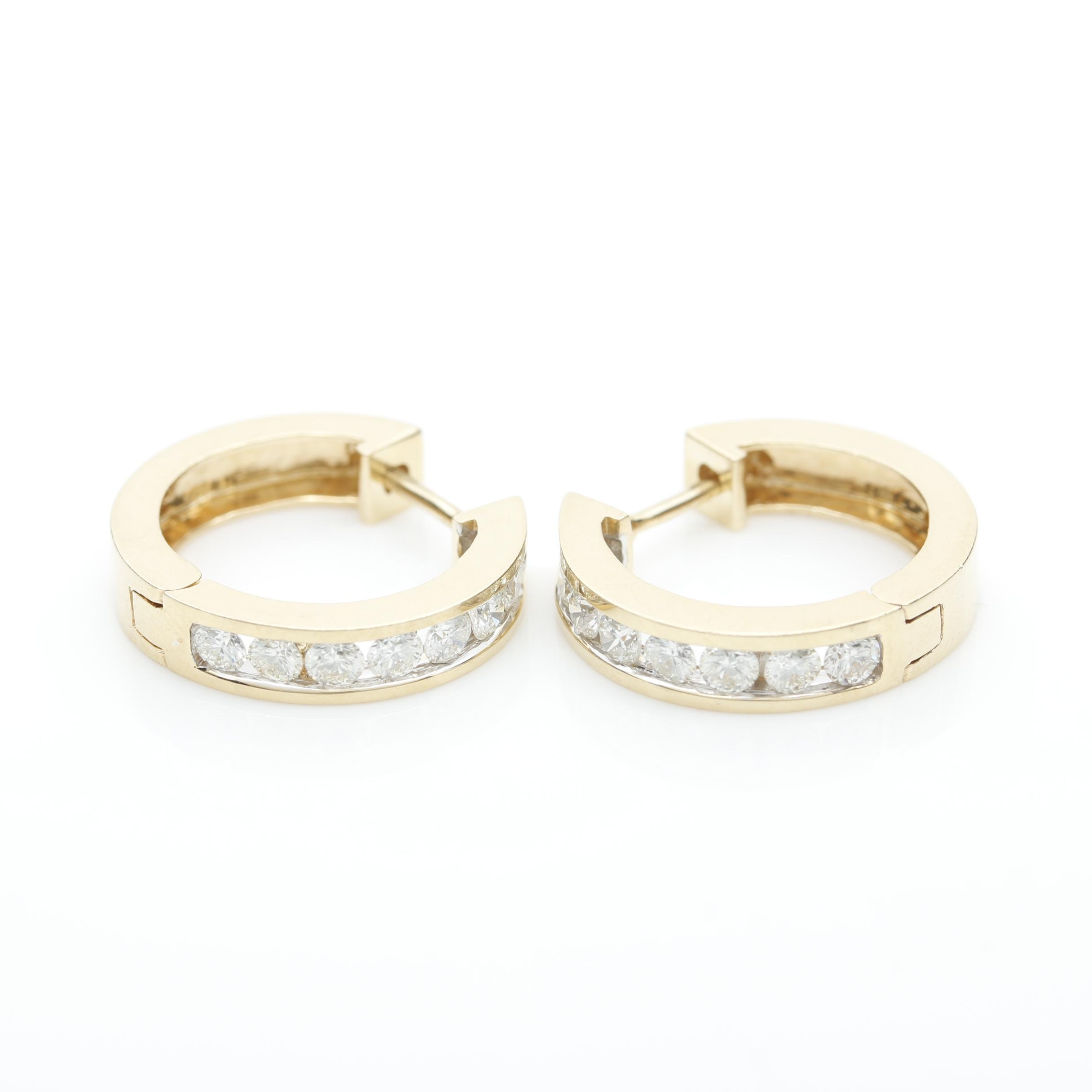 14k Yellow Gold 0.96 CTW Diamond Huggie Hoop Earrings