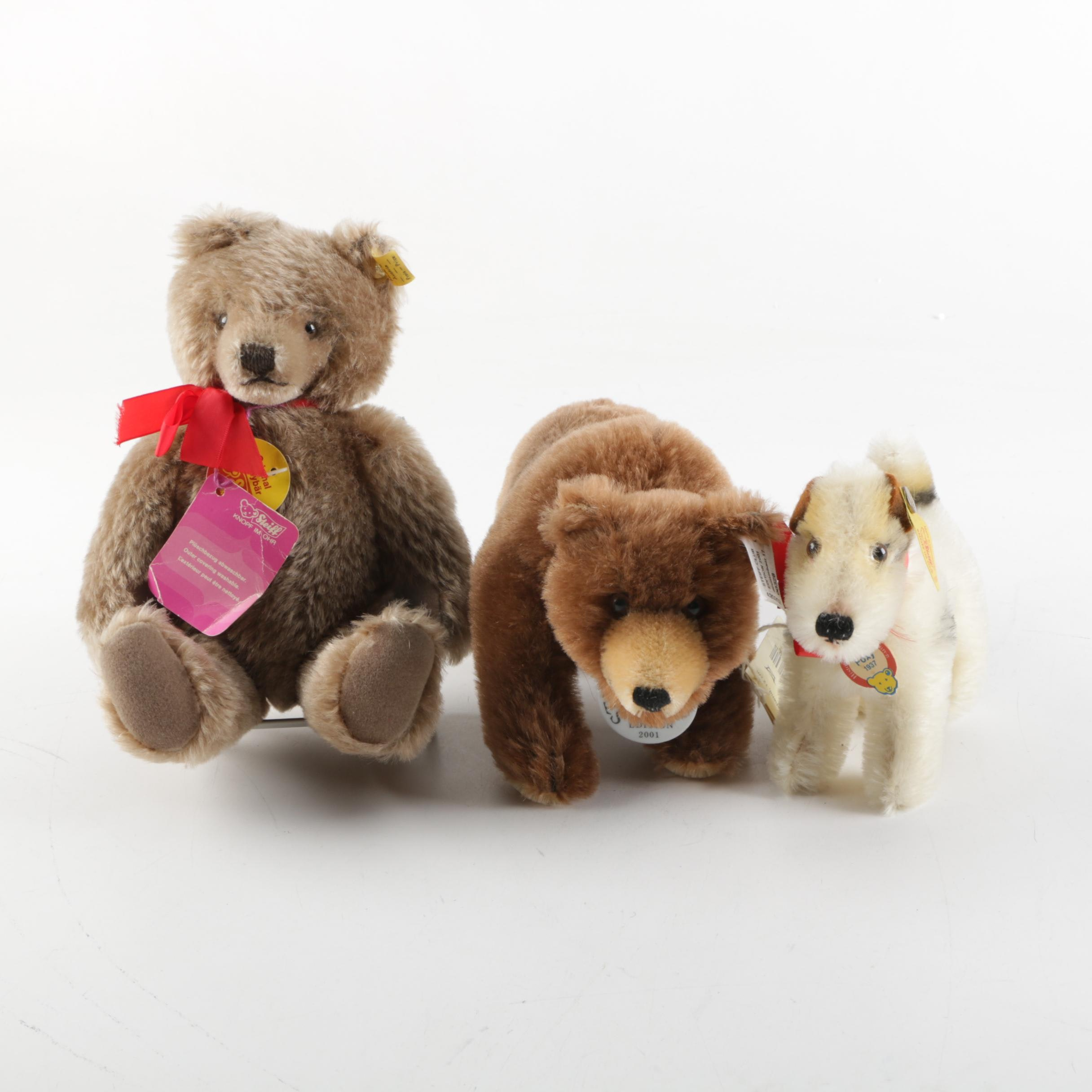 Steiff Foxy Terrier, Growling Bear and Jointed Brown Bear