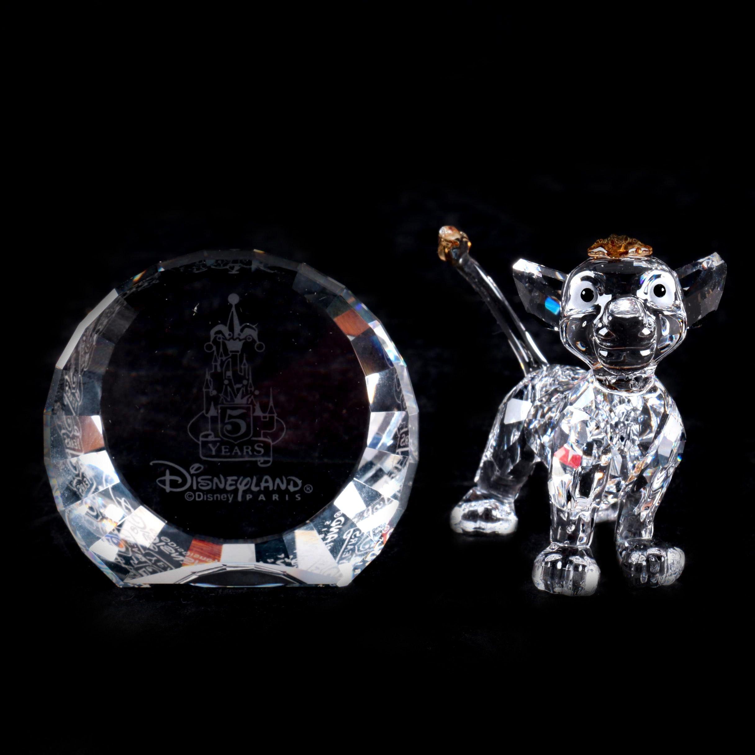 """Swarovski Crystal """"Simba"""" Figurine with Disneyland Paris Crystal Plaque"""