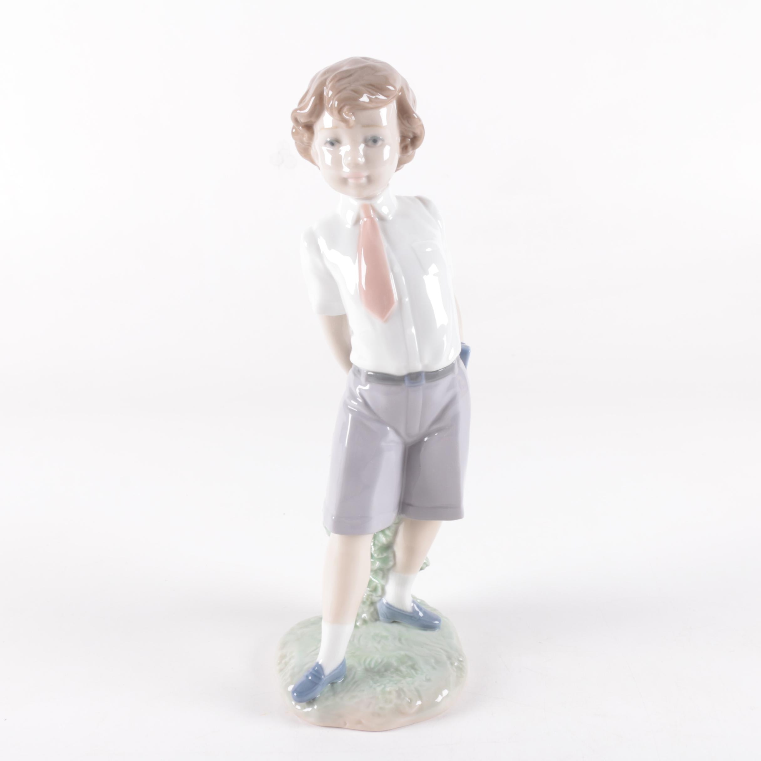 "Lladró ""Little School Boy"" 6813 Porcelain Figurine"