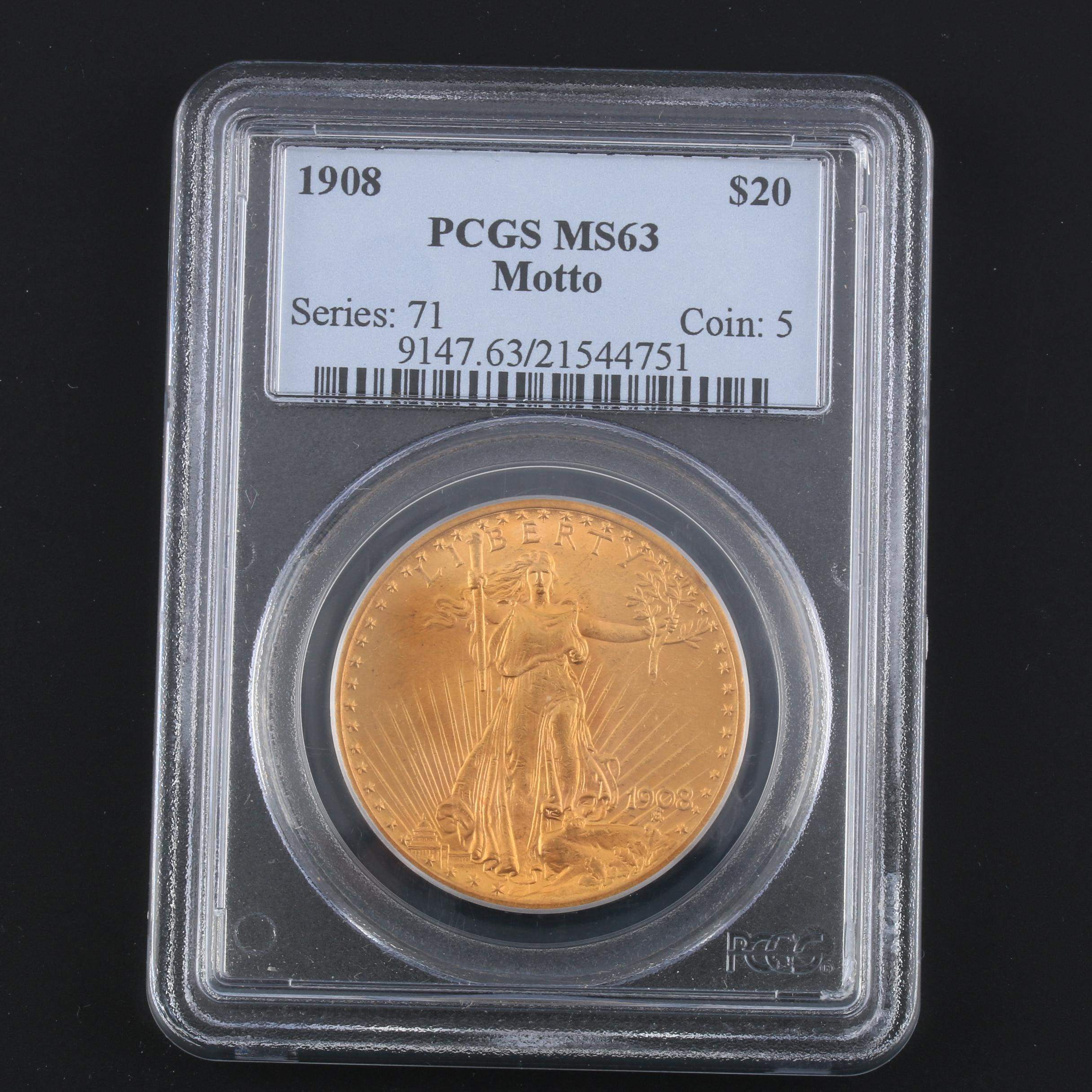 PCGS Graded MS63 1908 Saint Gaudens Gold Double Eagle
