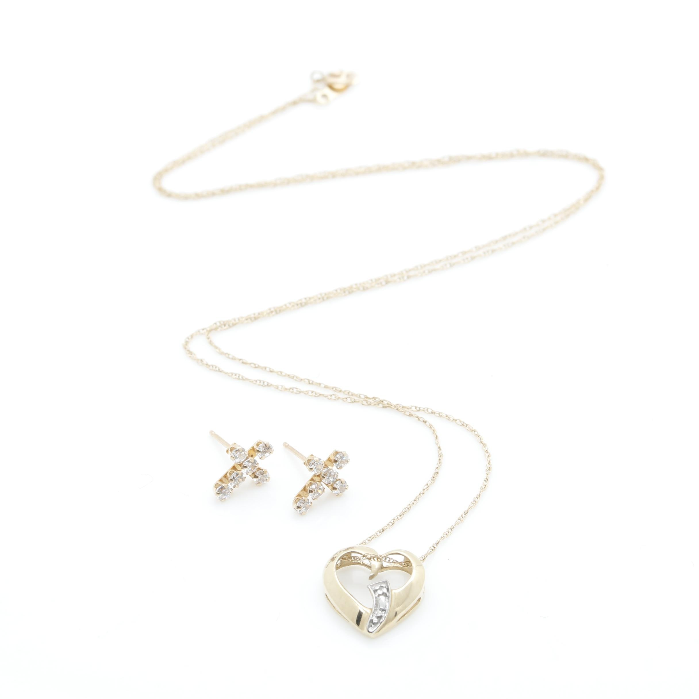10K Yellow Gold Diamond Necklace and Cubic Zirconia Earrings
