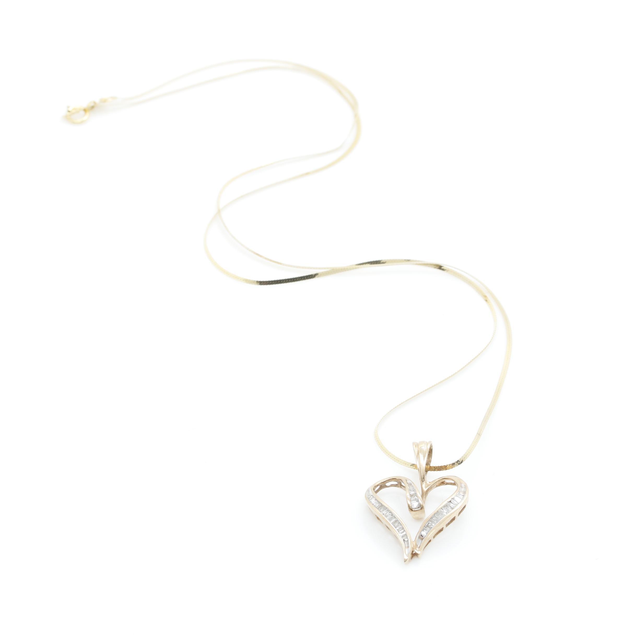10K Yellow Gold Diamond Heart Shaped Pendant Necklace