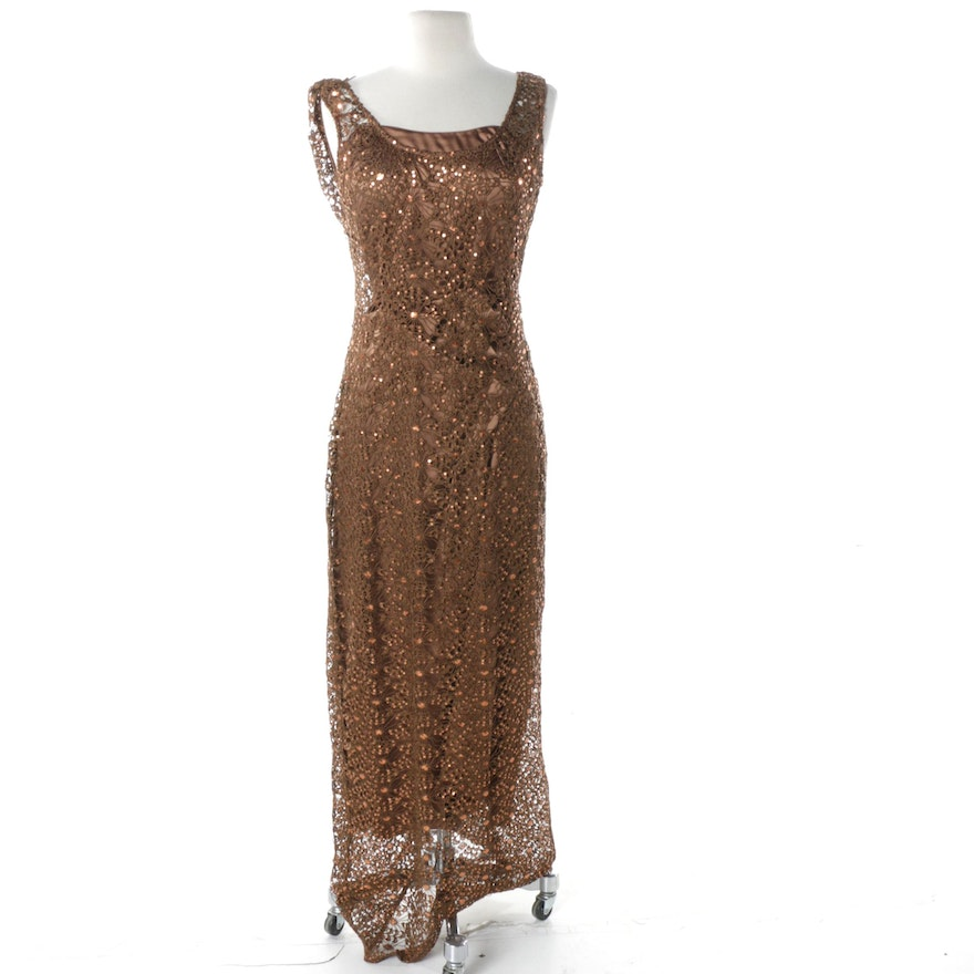 70b20c97008 Kay Unger Brown Satin Gown with Embellished Floral Lace Overlay   EBTH