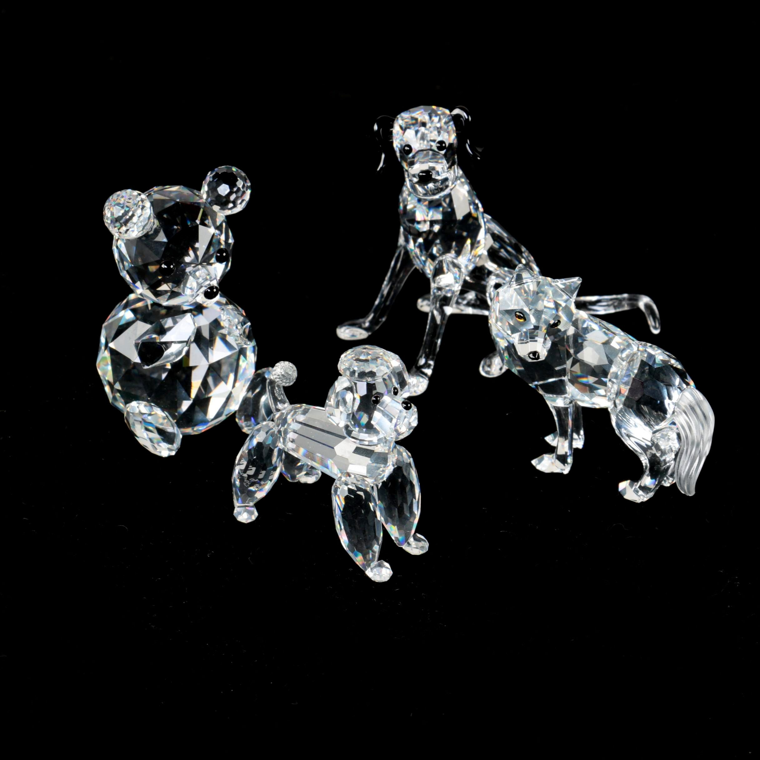 Swarovski Crystal Figurines Including Wolf and Poodle