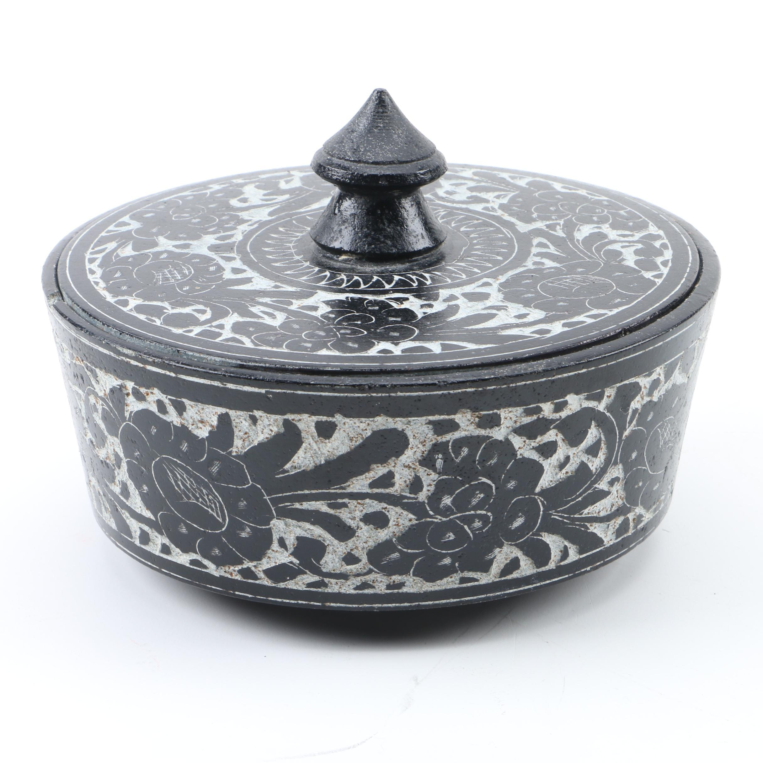 Asian Style Carved Stone Trinket Box