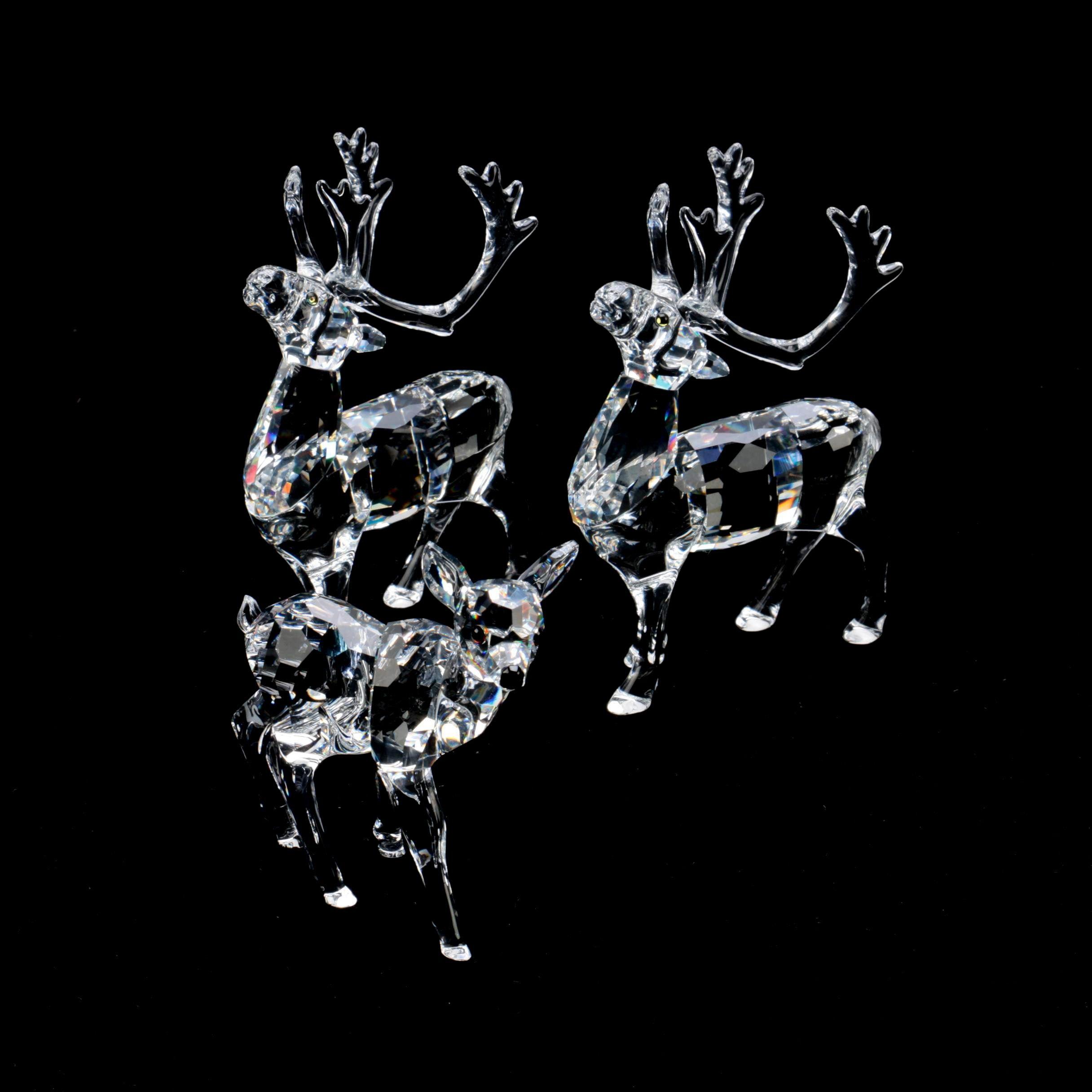 Swarovski Crystal Fawn and Reindeer Figurines