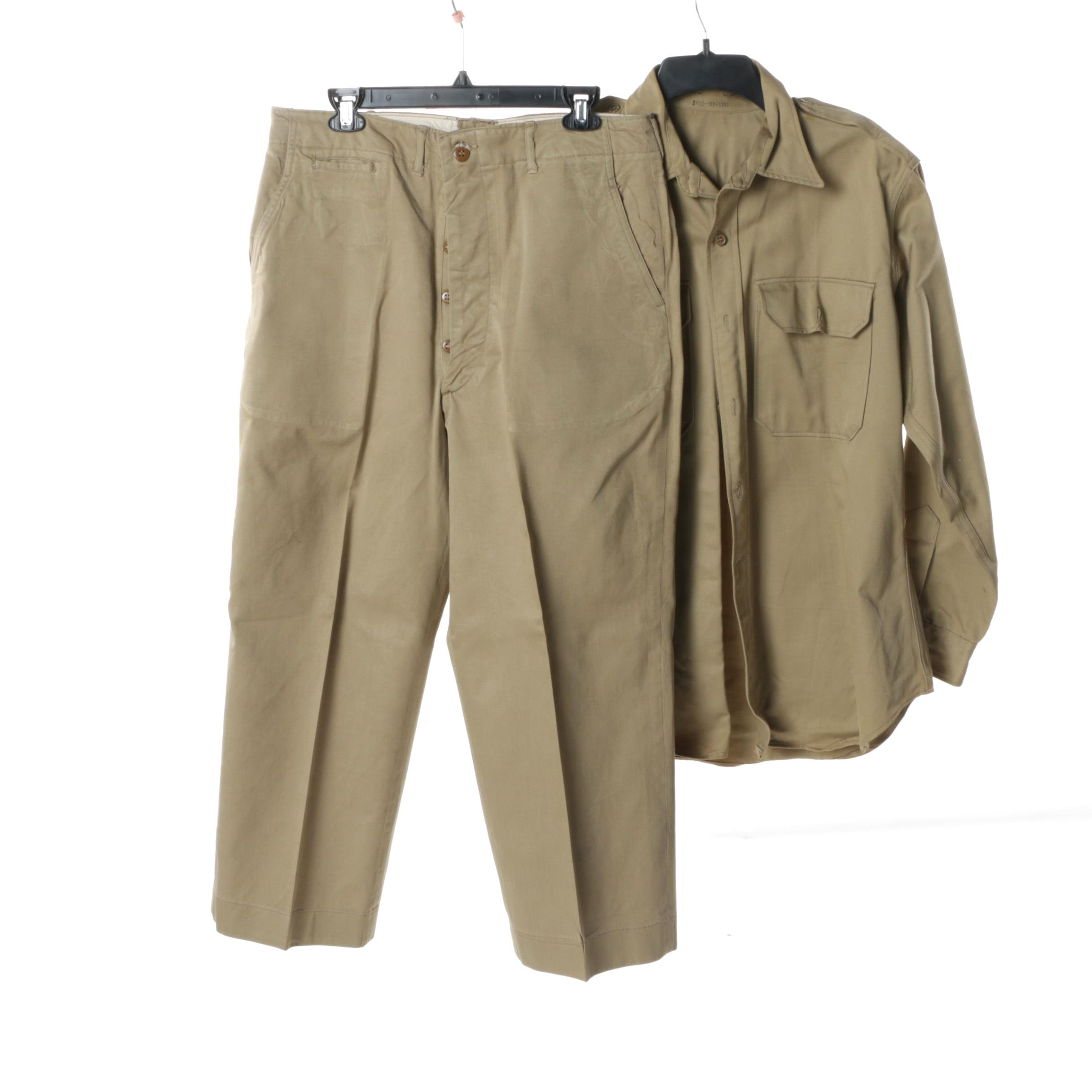 Men's 1950s Vintage US Army Khaki Trousers and Shirt
