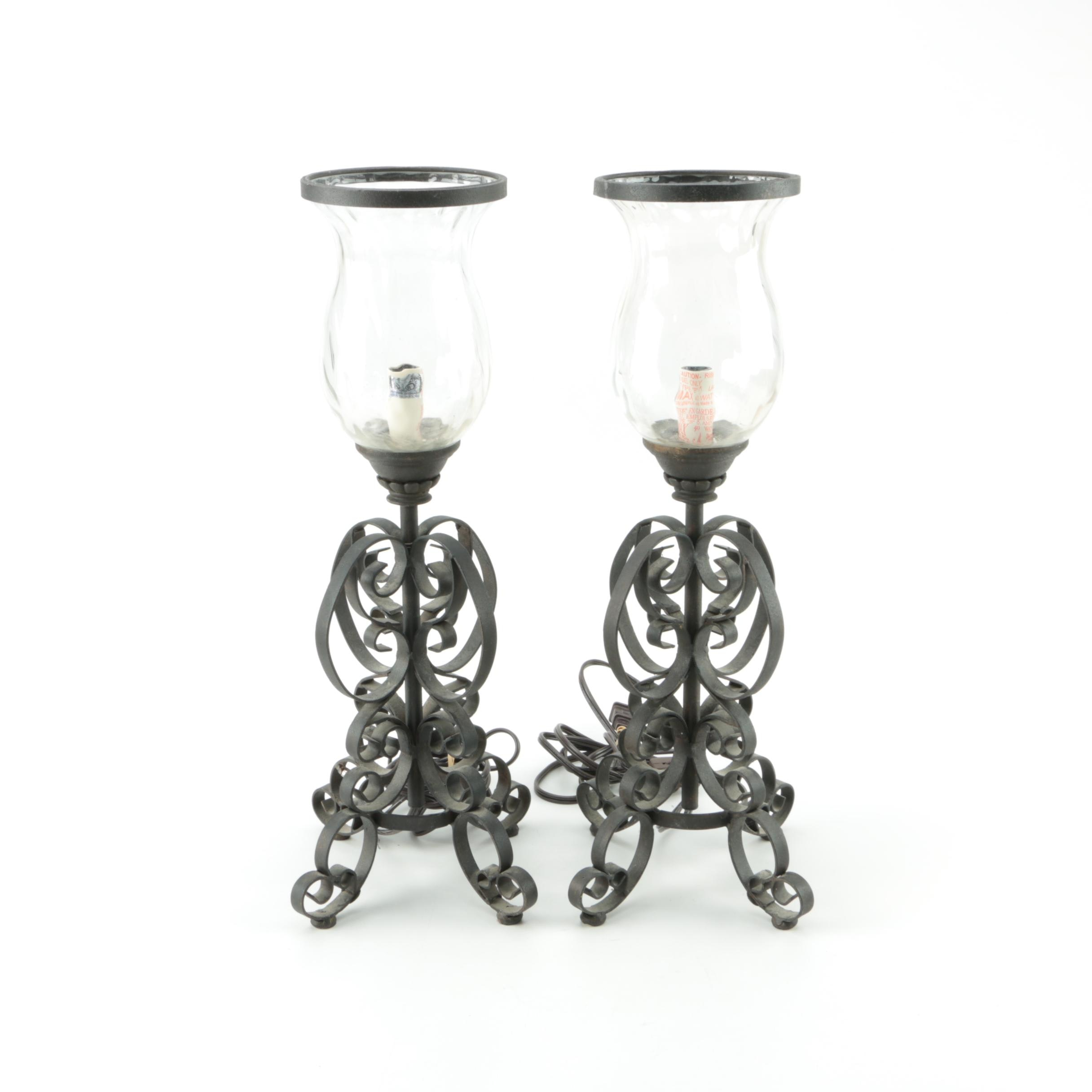 Cast Iron Desk Lamps with Glass Shades
