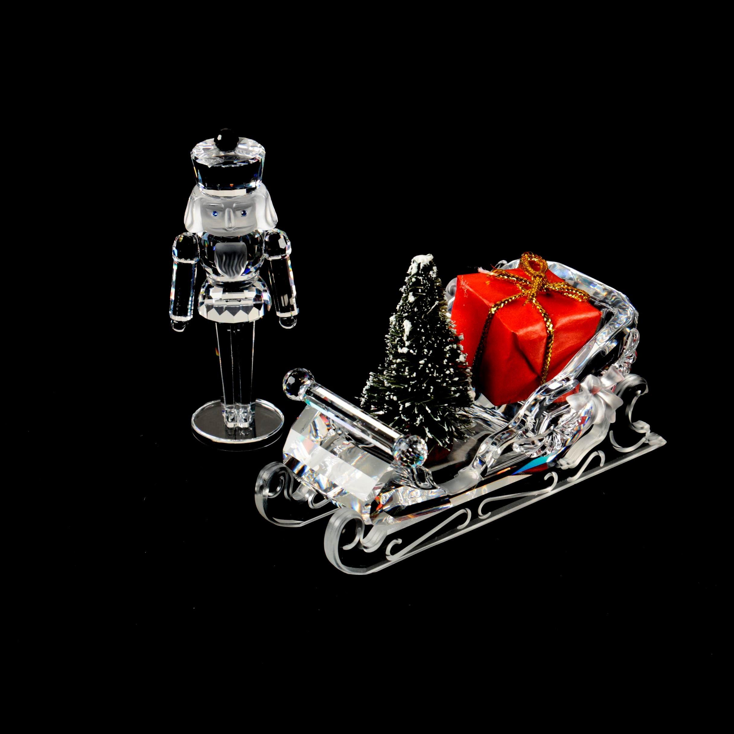 Swarovski Crystal Sleigh and Nutcracker Figurines
