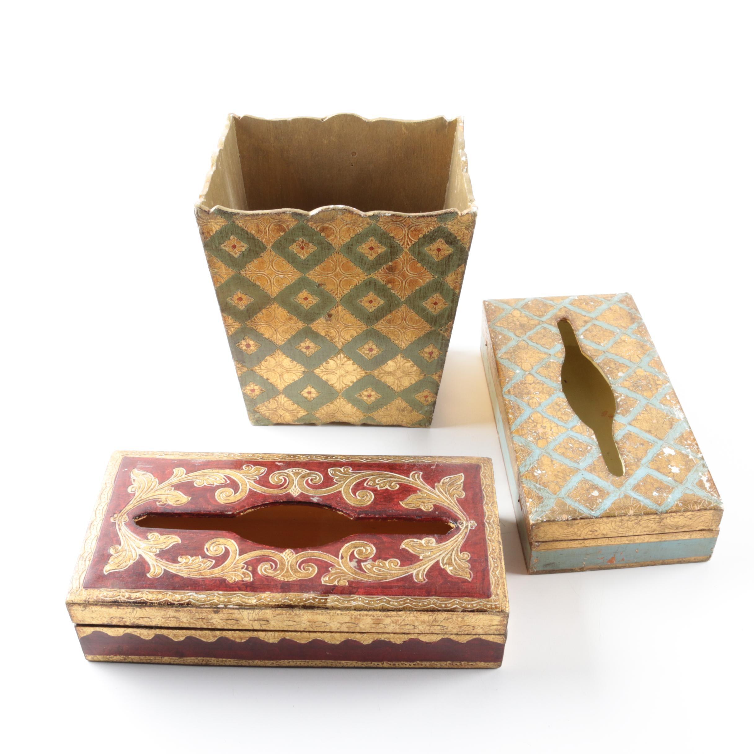 Italian Florentine Wood Tissue Holders and Trash Receptacle