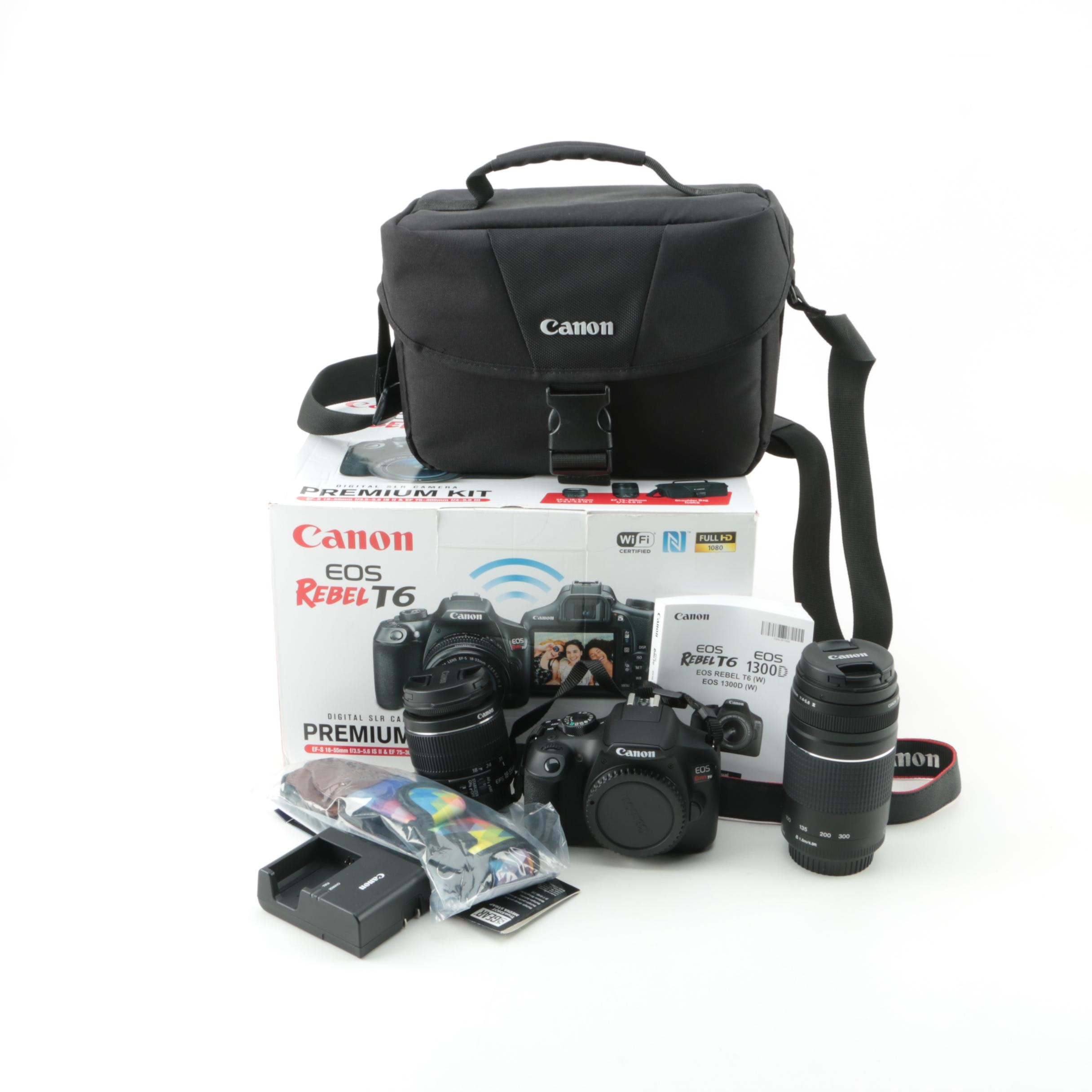 Canon EOS Rebel T6 DSLR Camera Premium Kit