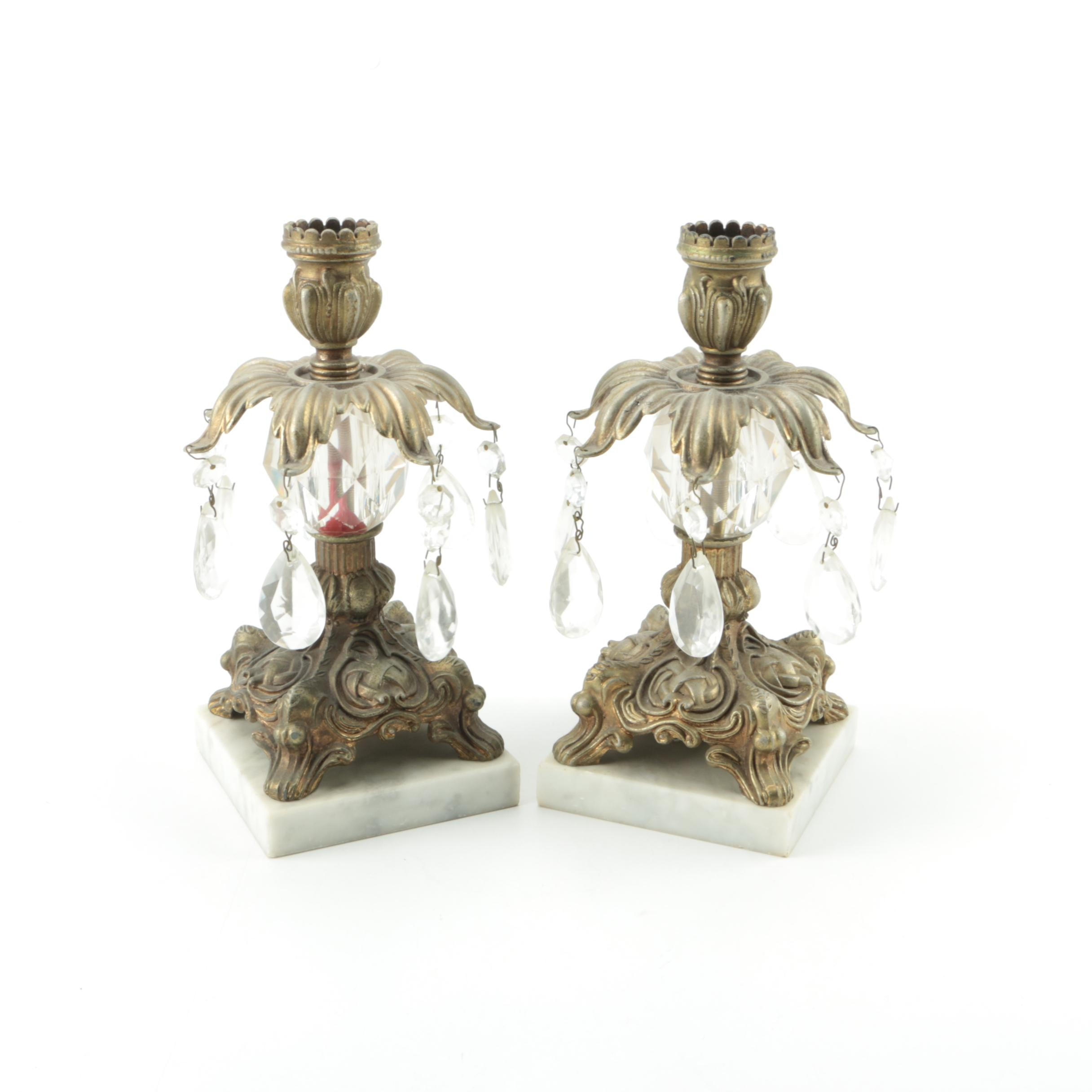 Brass Lusters on Marble Bases