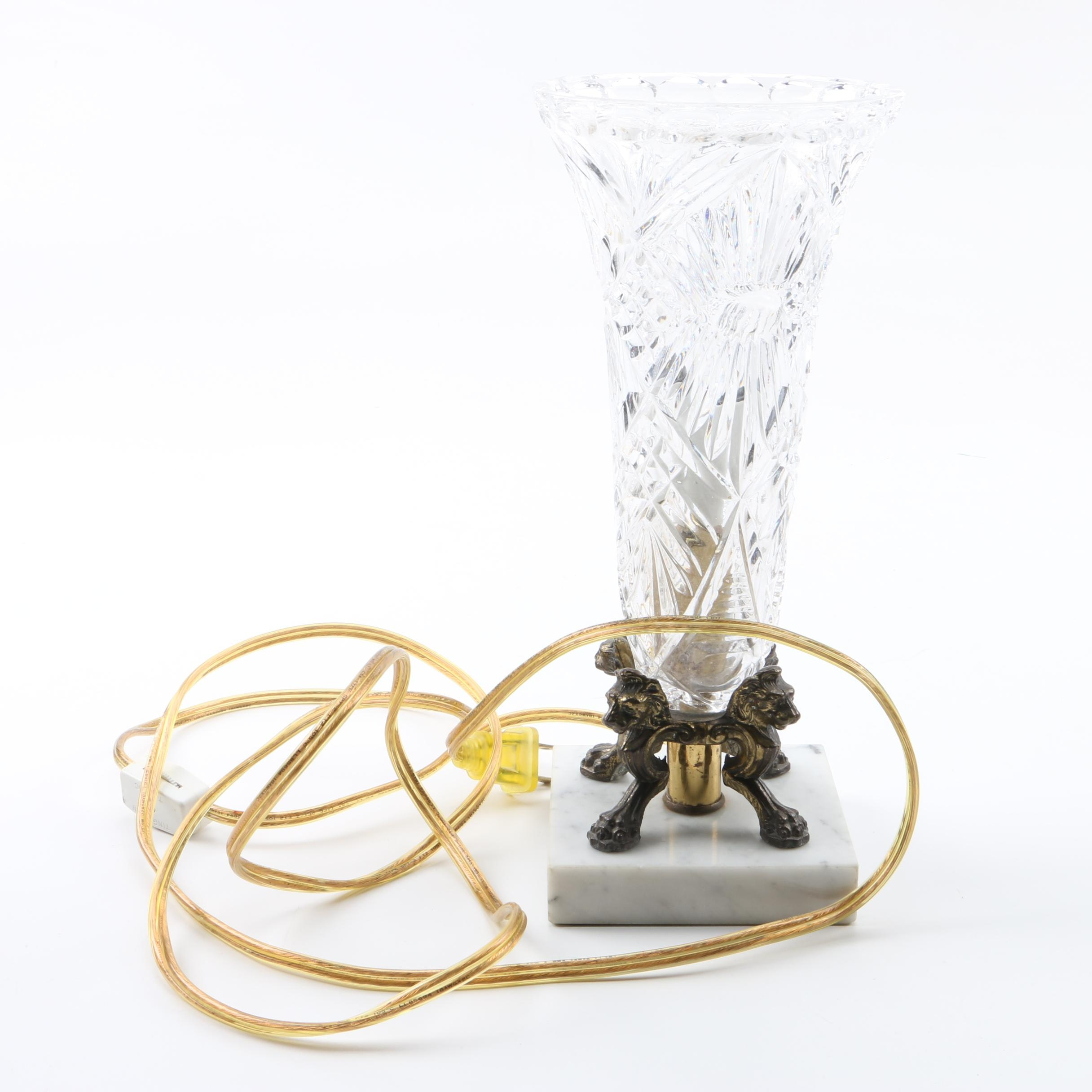 Cut Glass Vase Accent Lamp on Marble Base