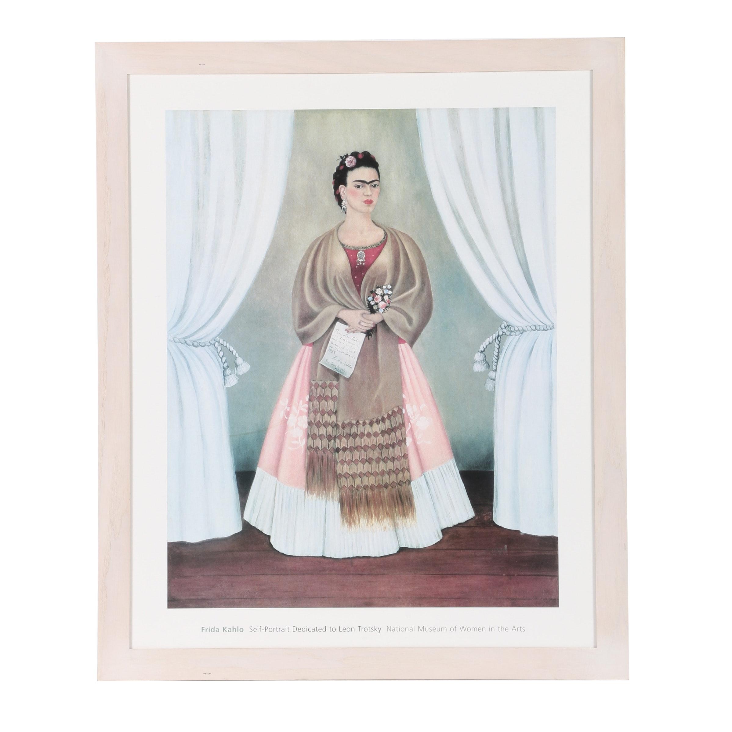 """Offset Lithograph Poster After Frida Kahlo """"Self Portrait..."""""""