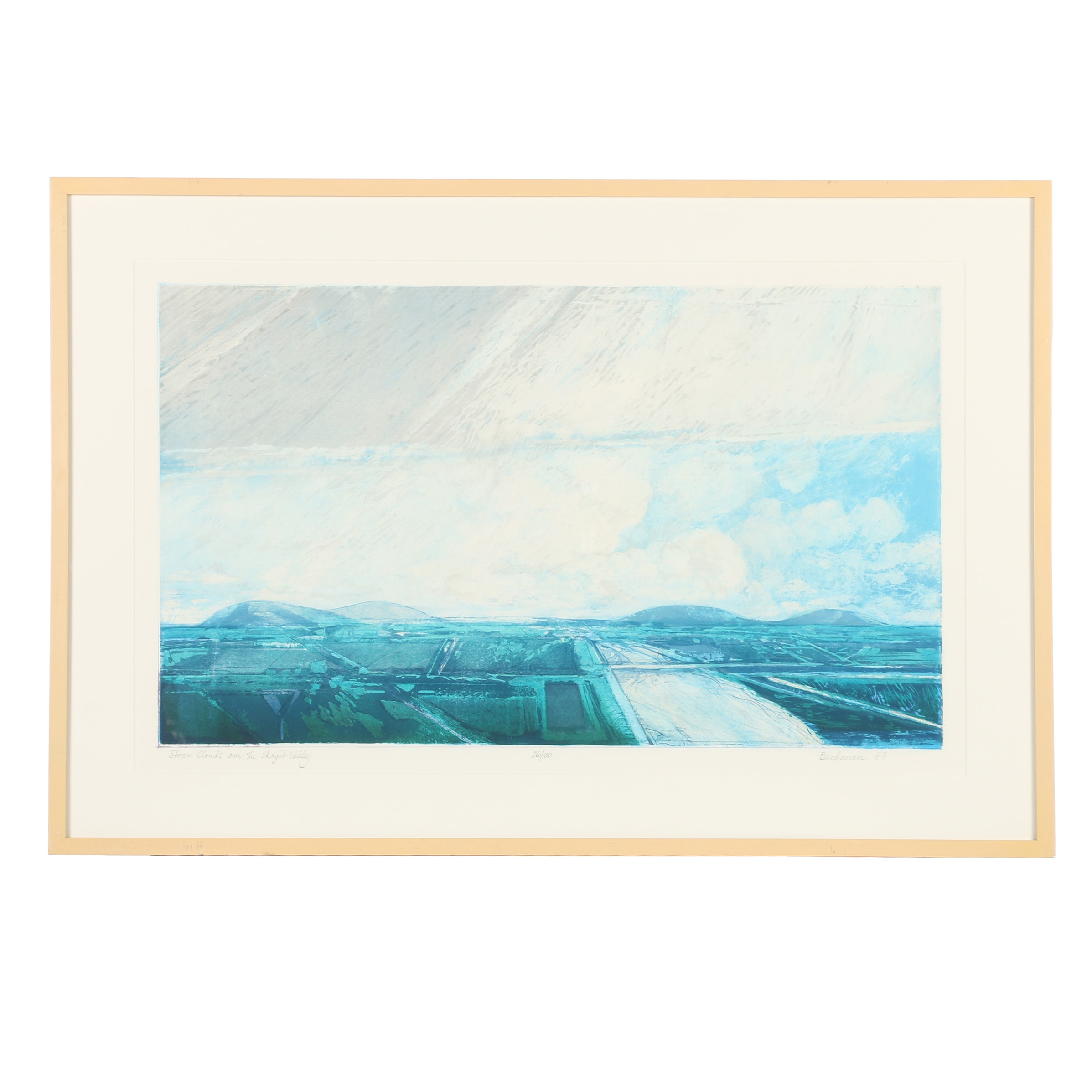 "Buchanan Limited Edition Serigraph ""Storm Clouds Over the Skagil Valley"""