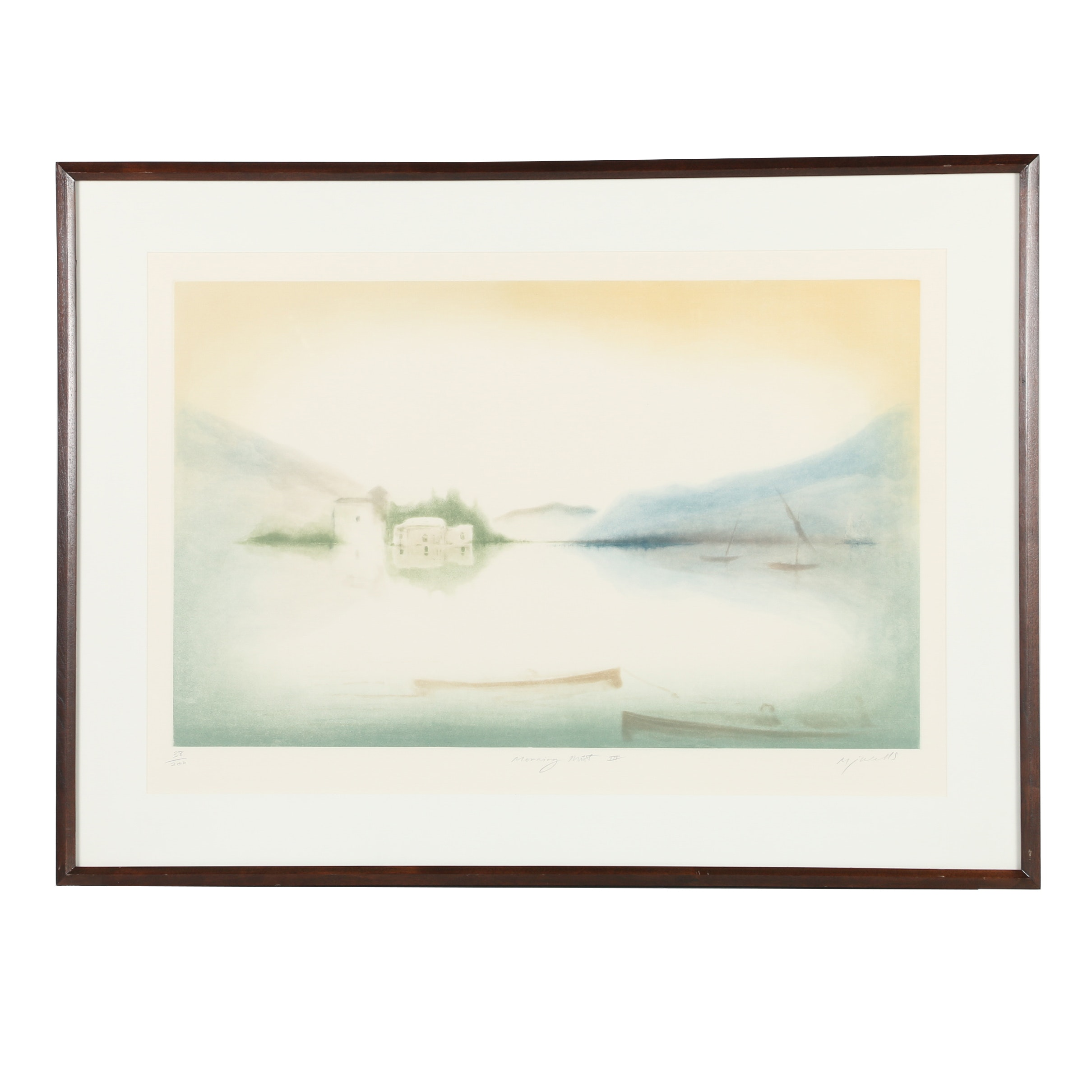 "M.J. Wells Limited Edition Aquatint ""Morning Mist III"""