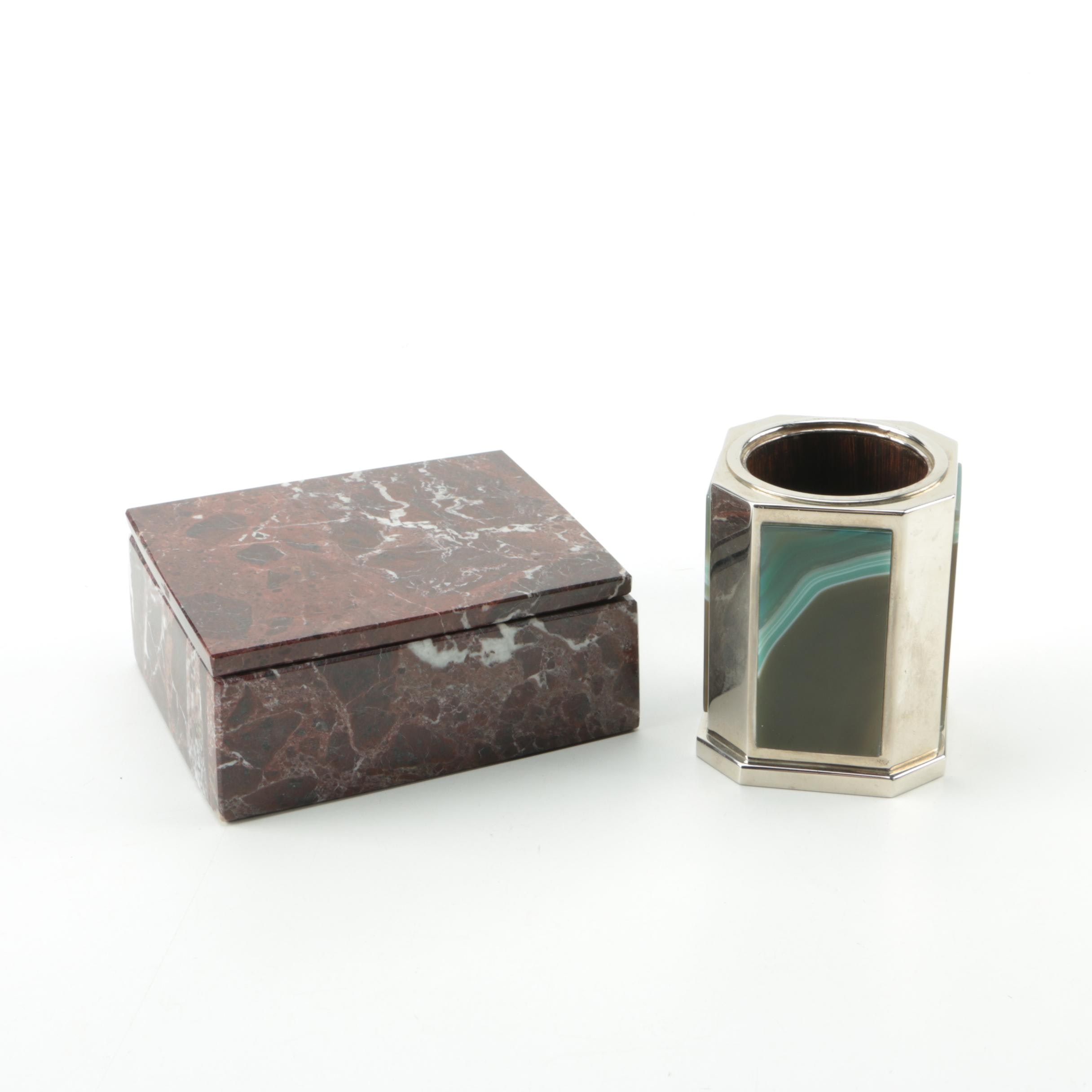 Marble and Agate Trinket Boxes