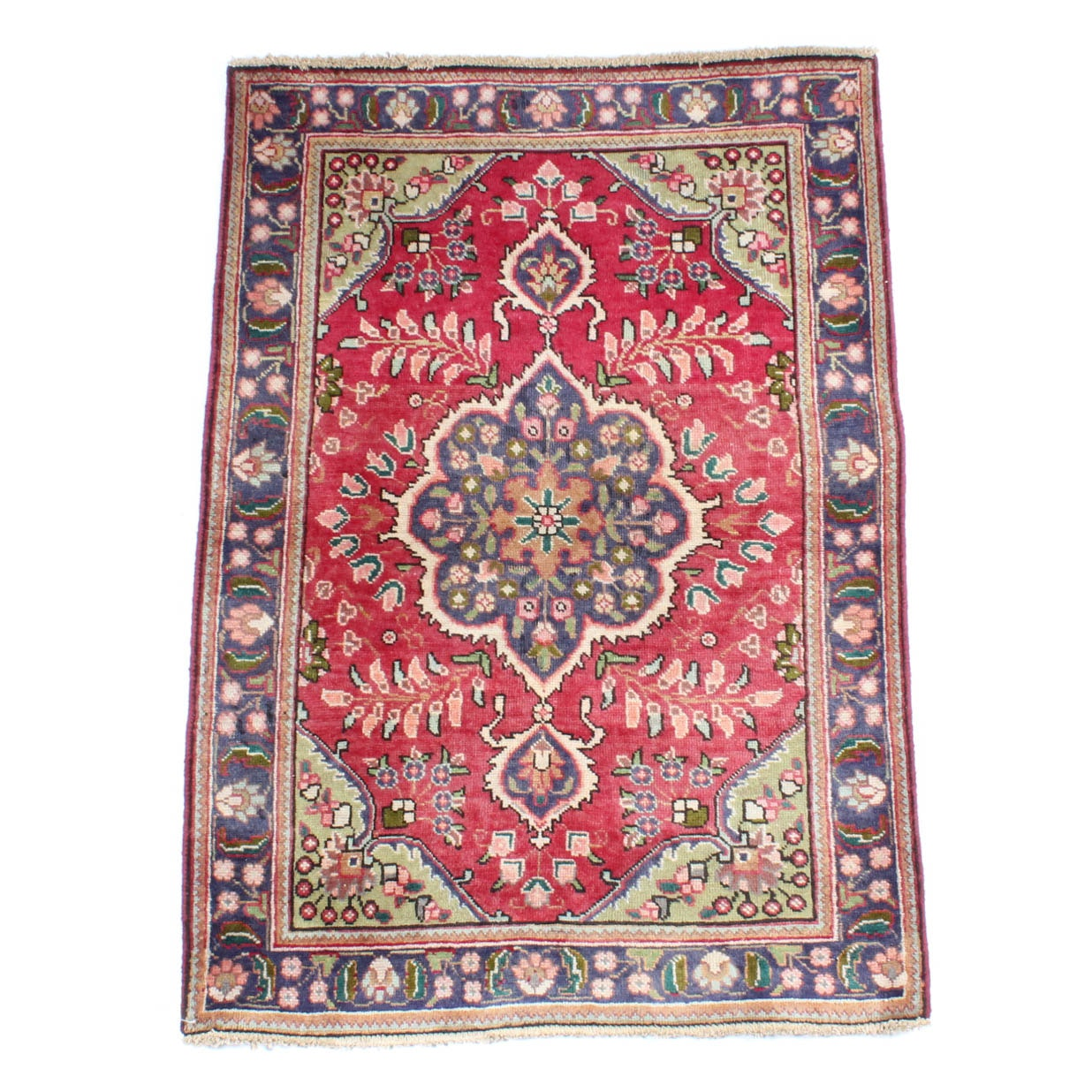 3' x 5' Vintage Hand-Knotted Persian Tabriz Accent Rug