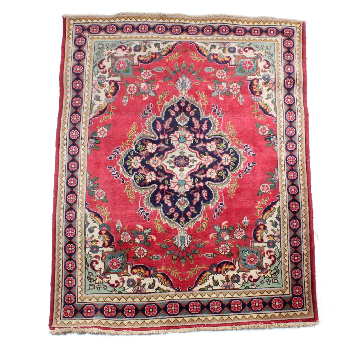 5' x 6' Vintage Hand-Knotted Persian Tabriz Area Rug