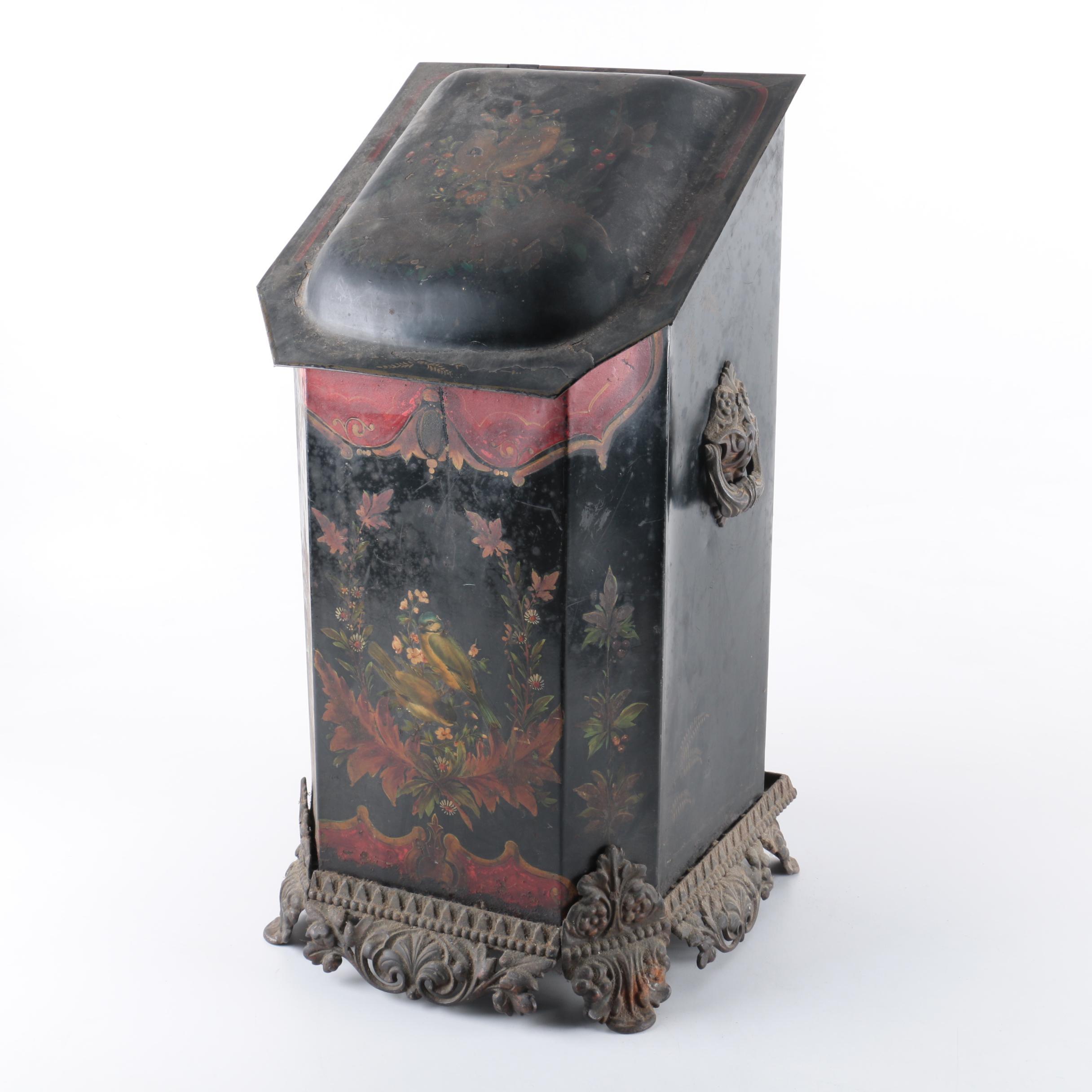 Metal Floral Motif Coal Bin
