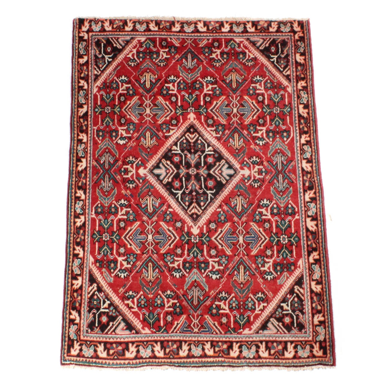 6' x 4' Vintage Hand-Knotted Persian Sultanabad Sarouk Area Rug