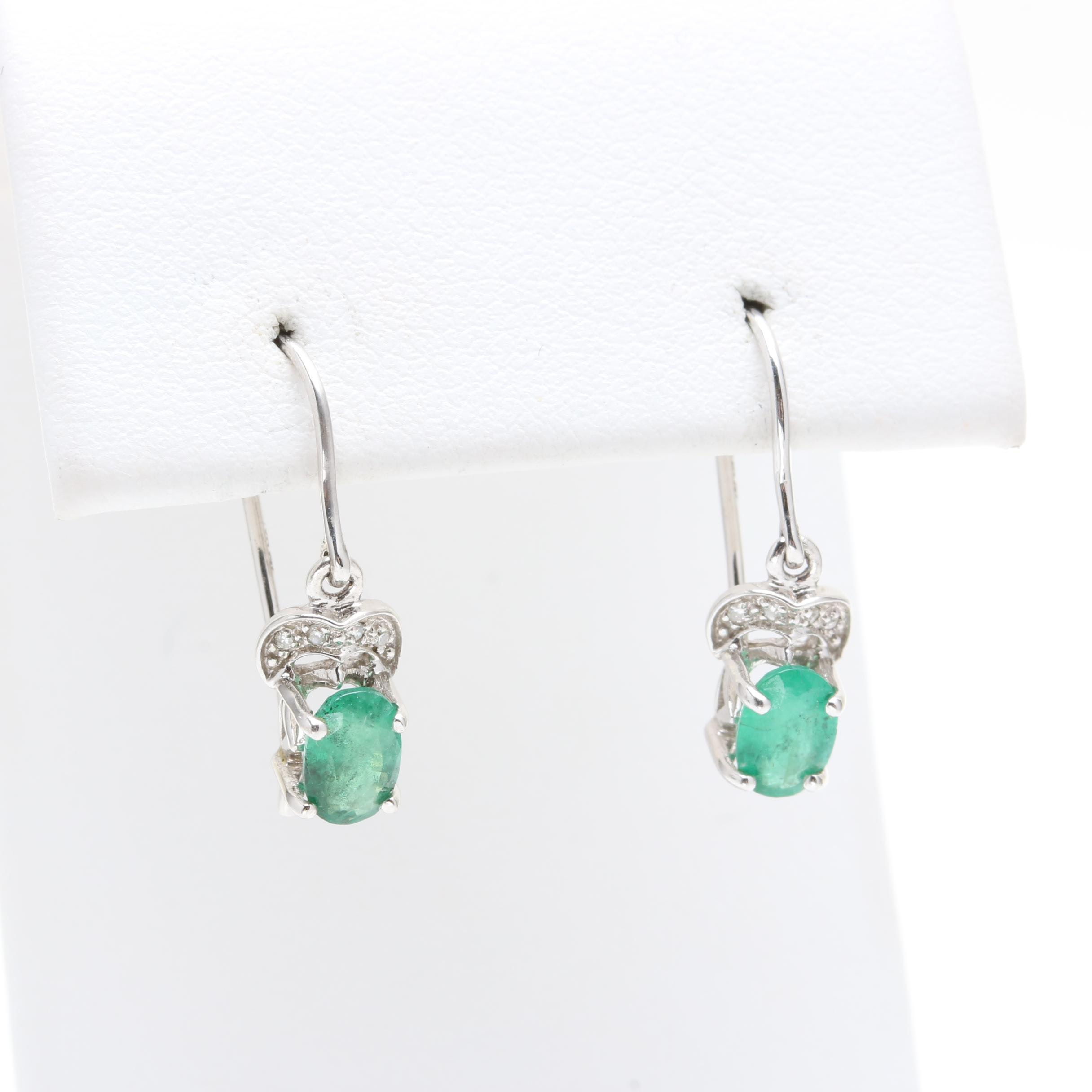 10K White Gold Emerald and Diamond Dangle Earrings