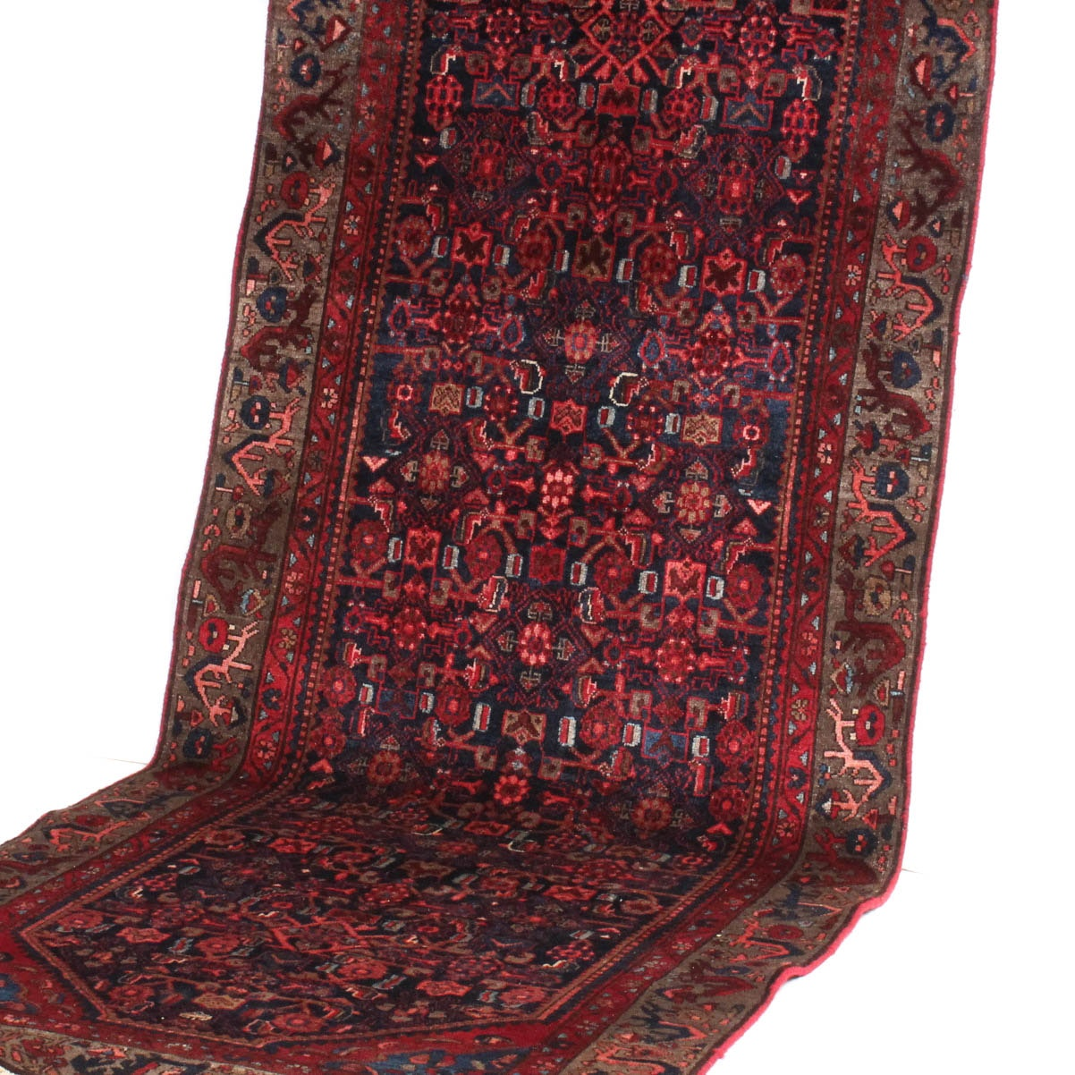 4' x 9' Vintage Hand-Knotted Persian Lilihan Sarouk Rug Runner