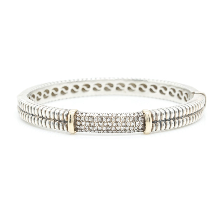 sterling shop image bracelet t pave bangle w macy silver in bangles product diamond ct s fpx main