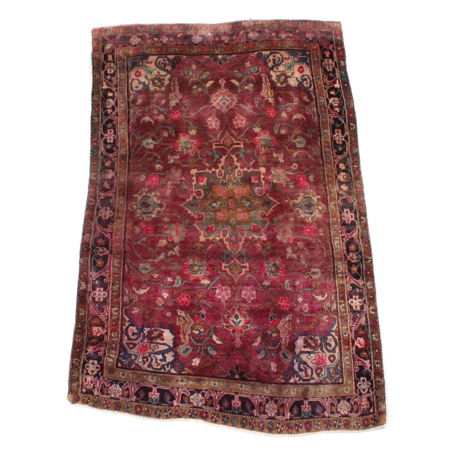 4' x 7' Vintage Hand-Knotted Persian Mallayer Sarouk Area Rug