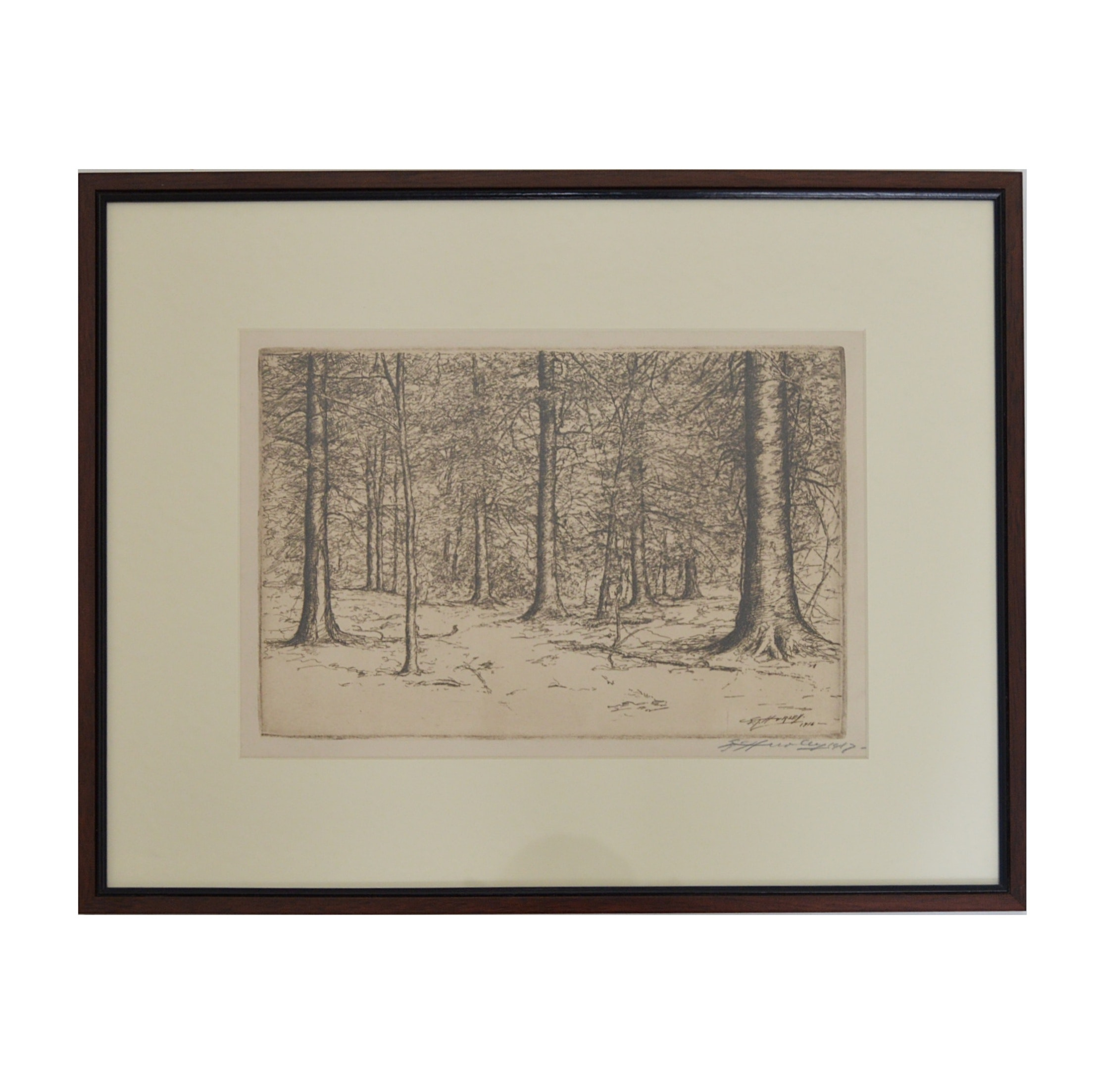 E.T. Hurley 1916 Signed Etching of Trees in a Forest