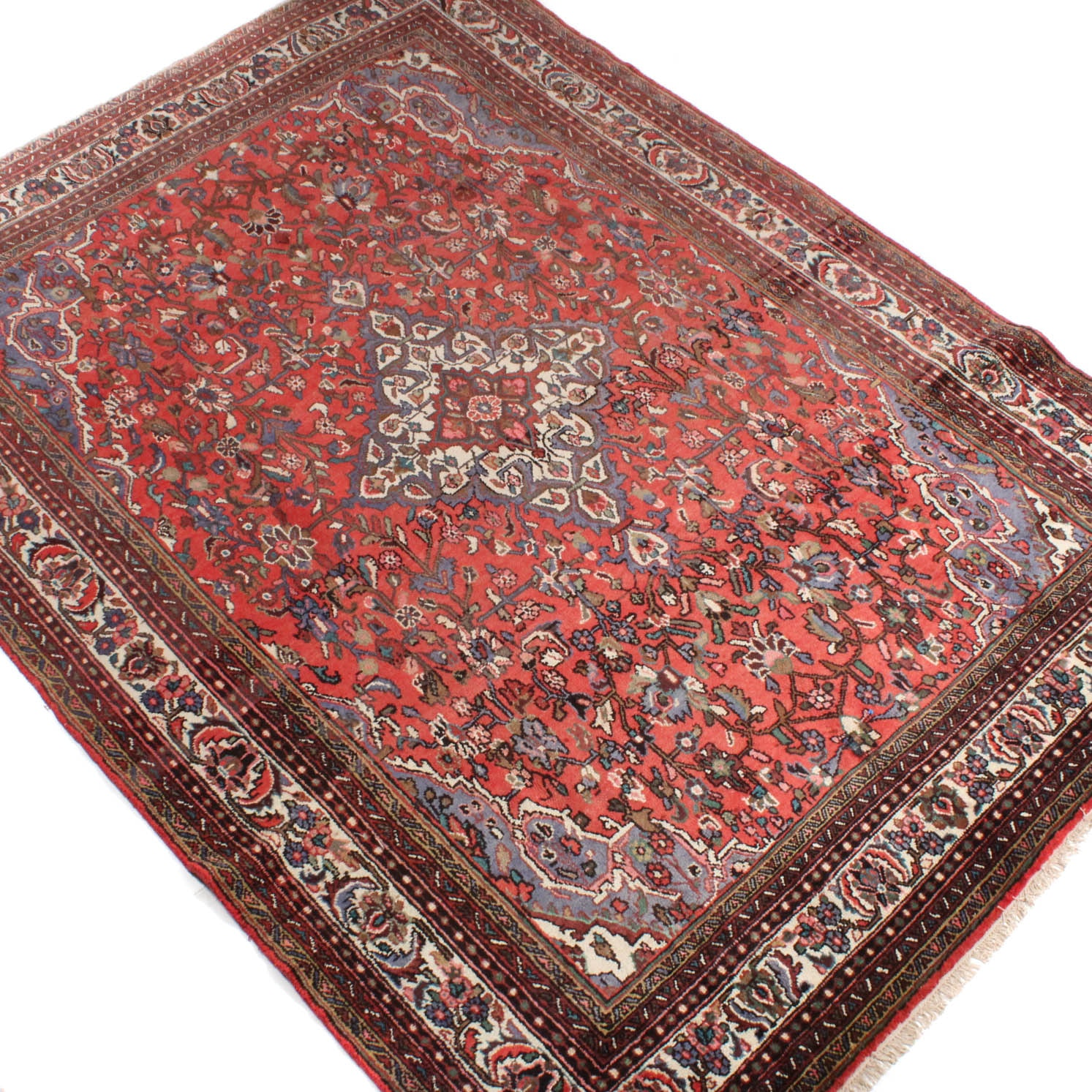 8' x 11' Vintage Hand-Knotted Persian Malayer Sarouk Room Size Rug