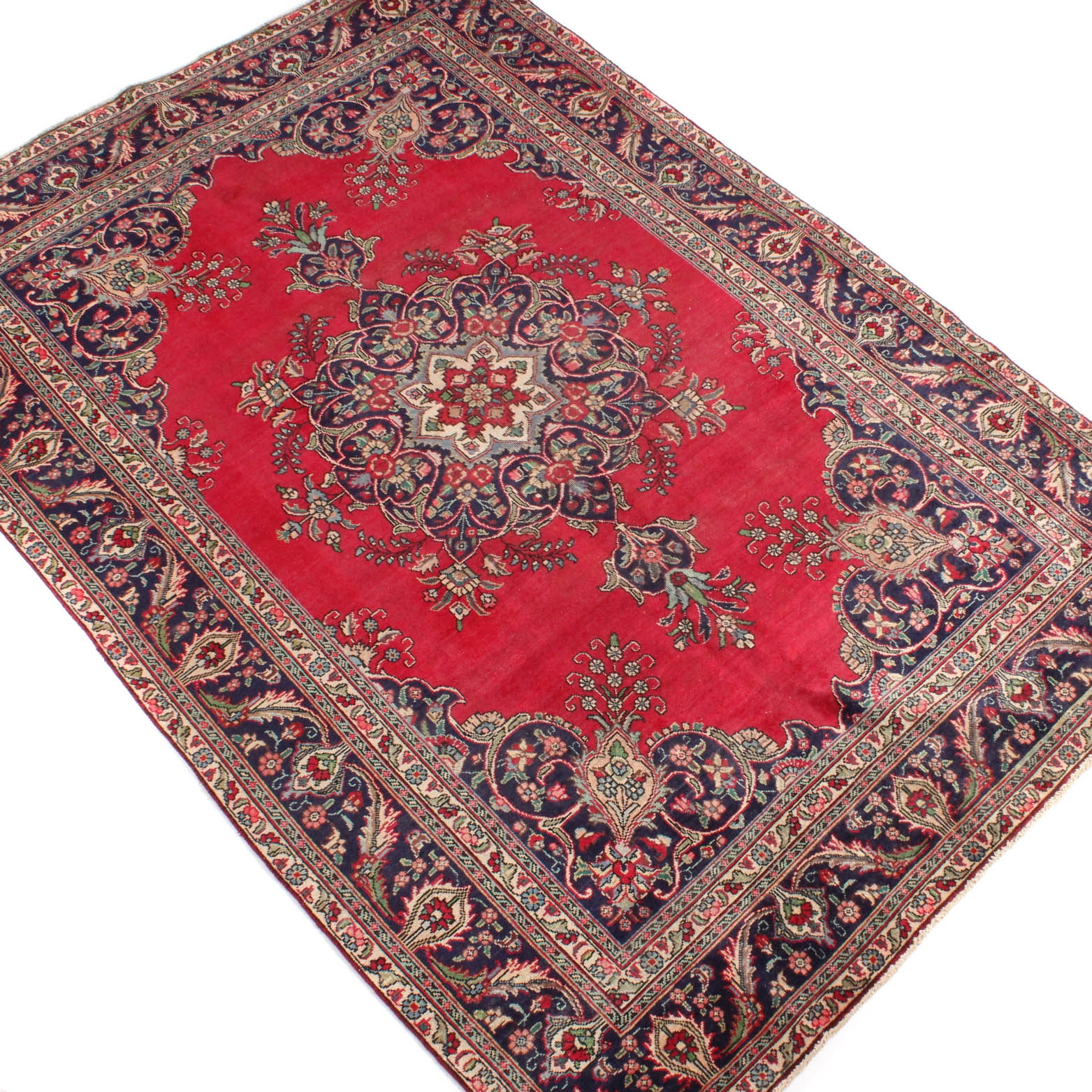 7' x 10' Vintage Hand-Knotted Persian Qum Room Size Rug