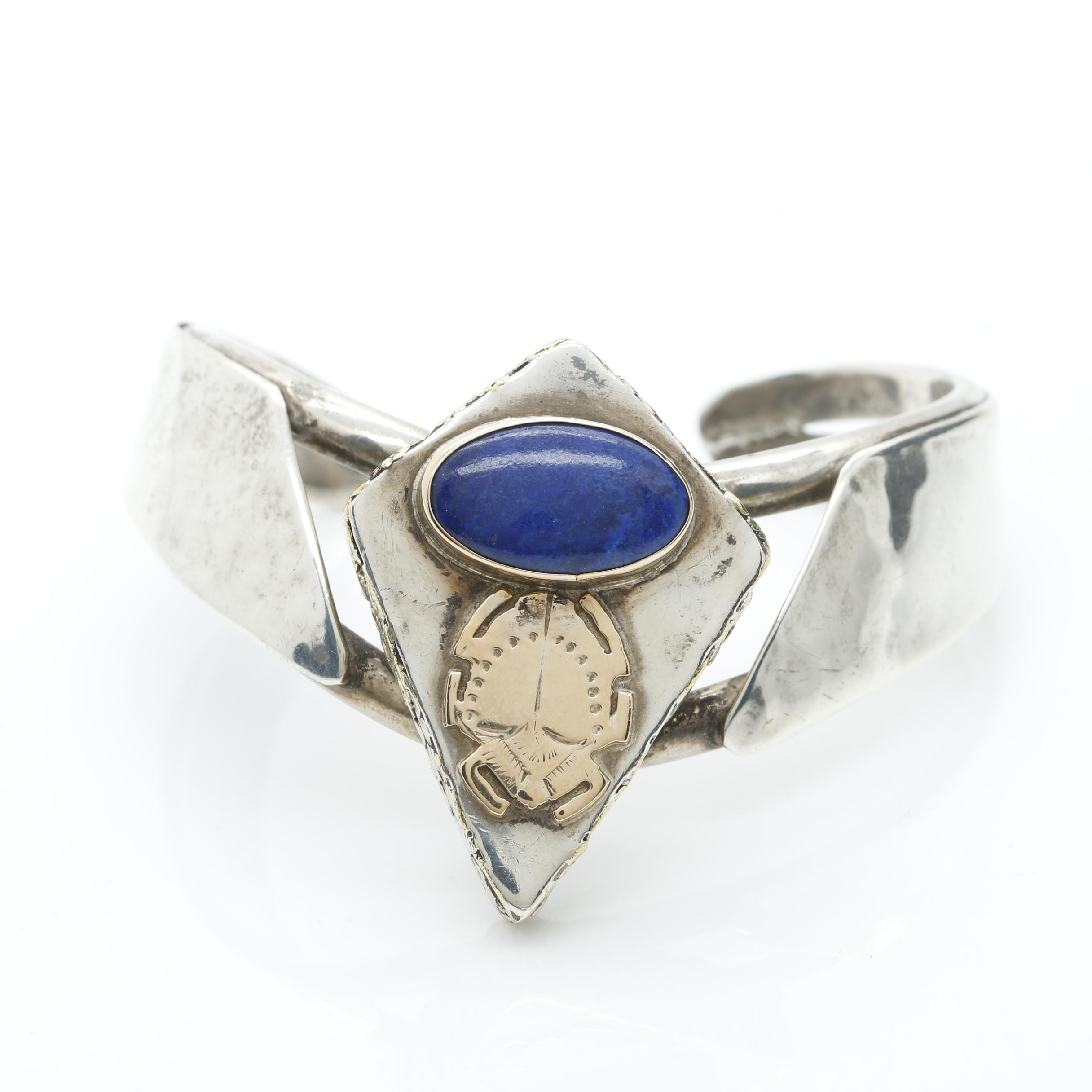 Sterling Silver Lapis Lazuli Cuff Bracelet With 14K Yellow Gold Accents