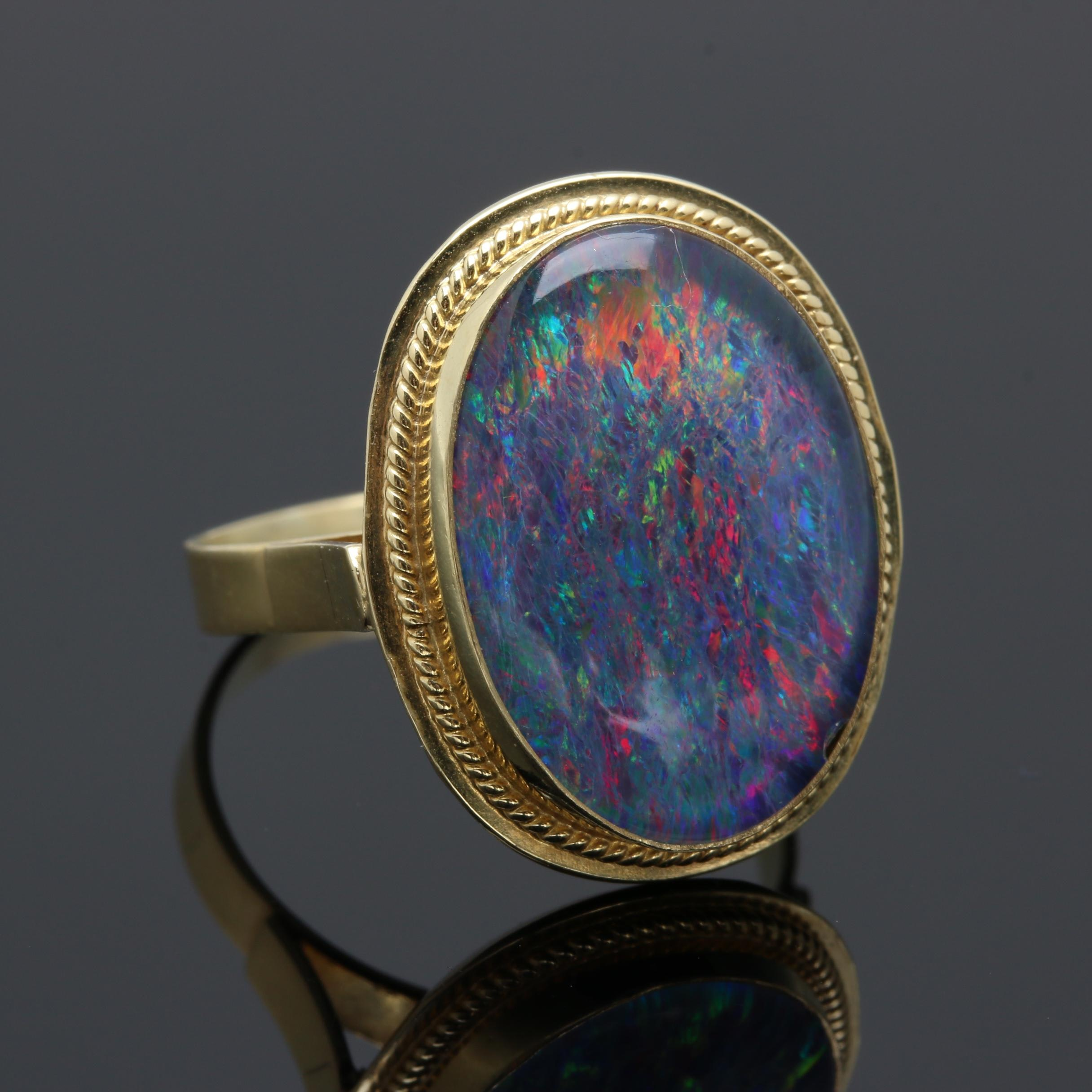14K Yellow Gold Opal Triplet Ring