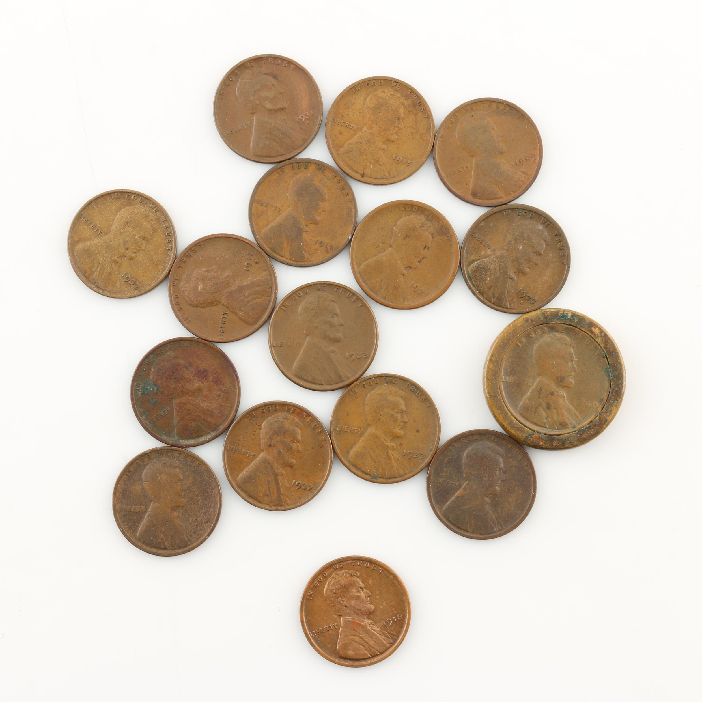 Group of Sixteen Lincoln Wheat Cents