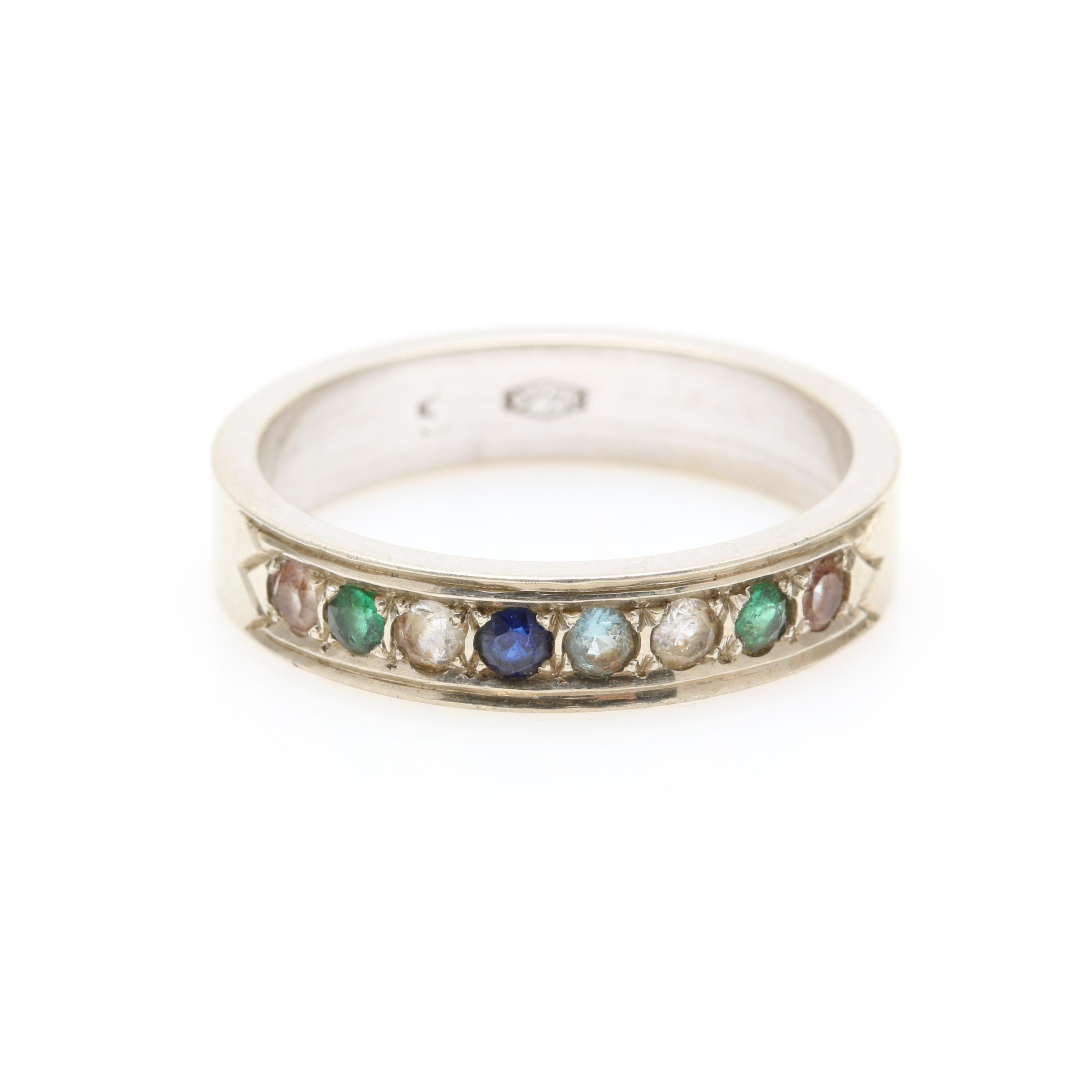 14K White Gold Synthetic Spinel and Synthetic Sapphire Ring