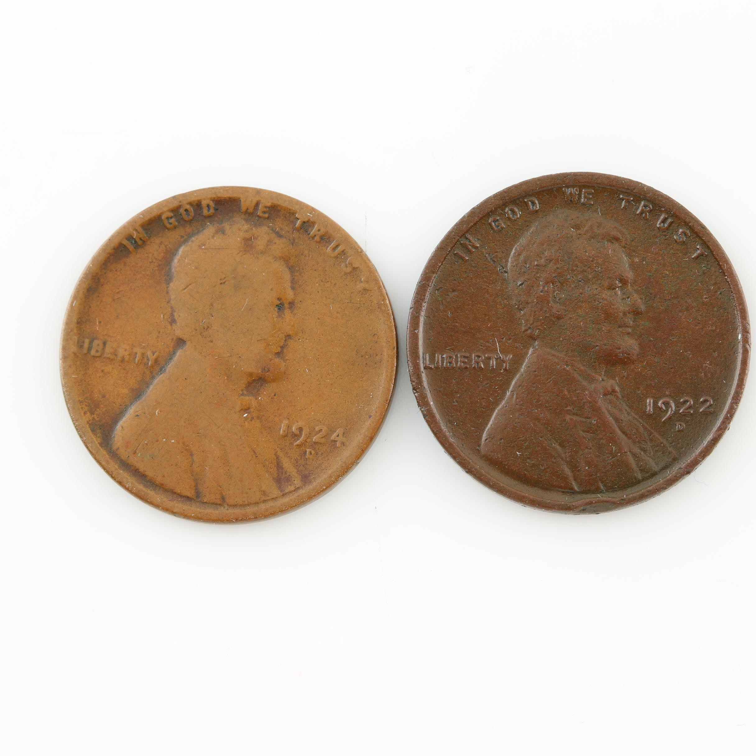 Two Better Date Lincoln Wheat Cents: 1922-D and 1924-D