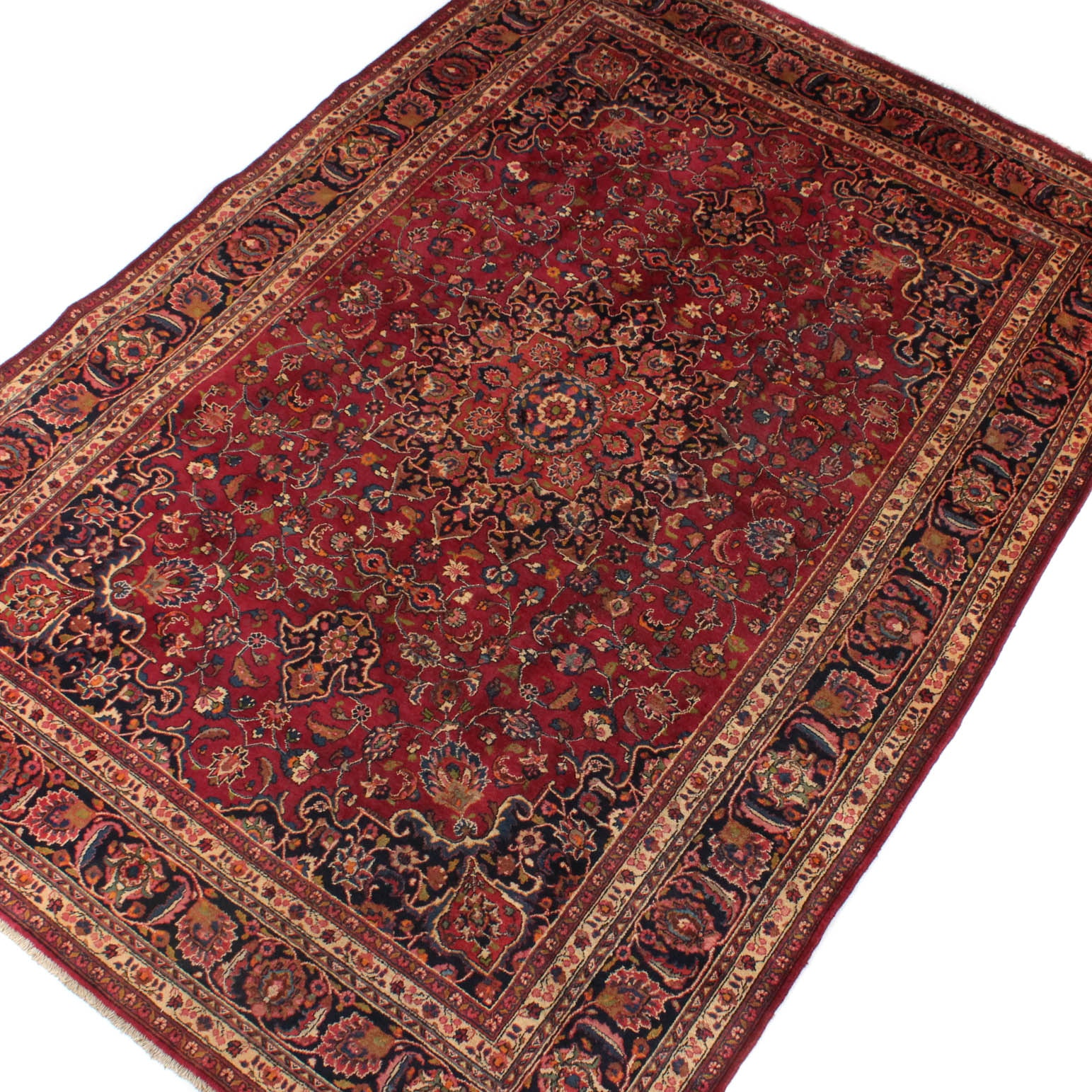 8' x 12' Vintage Karrimi Signed Hand-Knotted Persian Mashad Room Size Rug