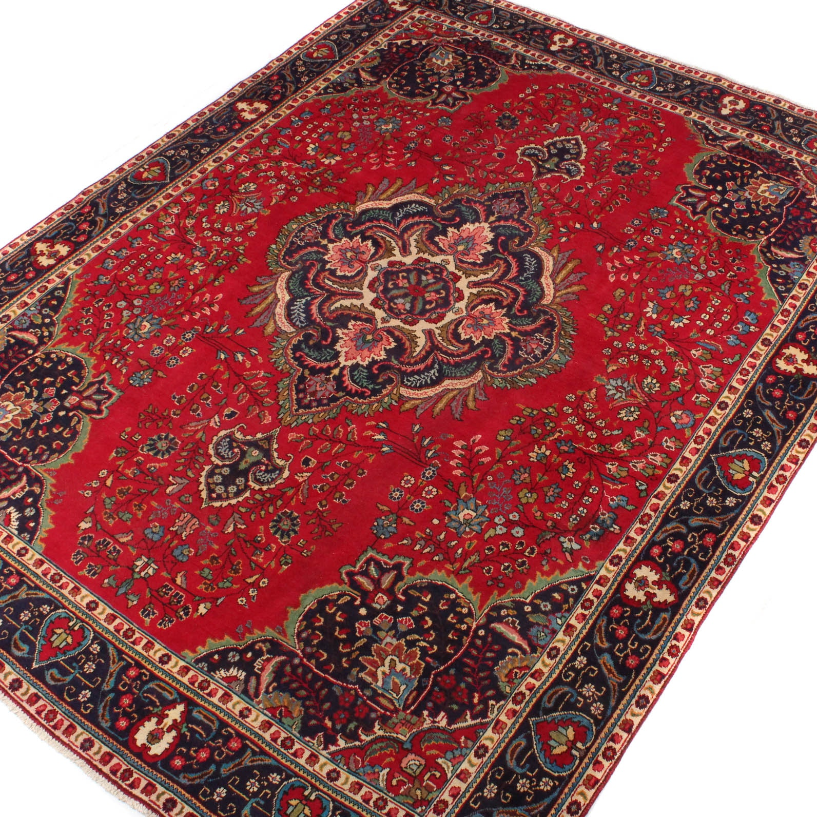 10' x 13' Vintage Hand-Knotted Persian Qum Room Size Rug